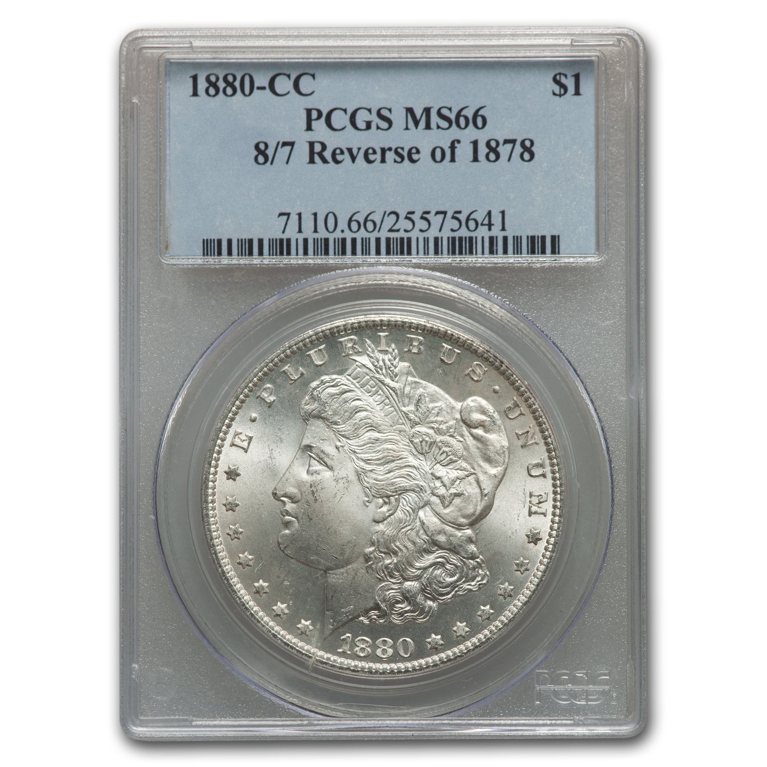 1880-CC Morgan Dollar 8/7 Rev of 78 MS-66 PCGS
