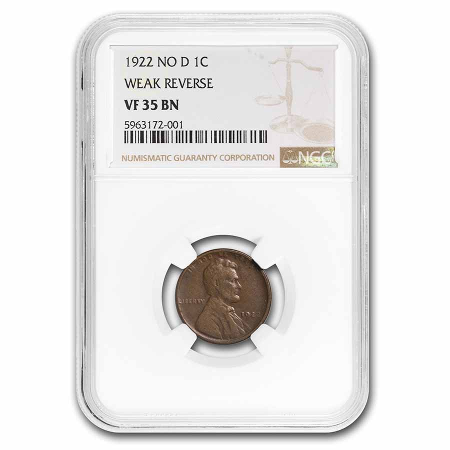 1922 Lincoln Cent VF-35 NGC (No D, Weak Reverse)