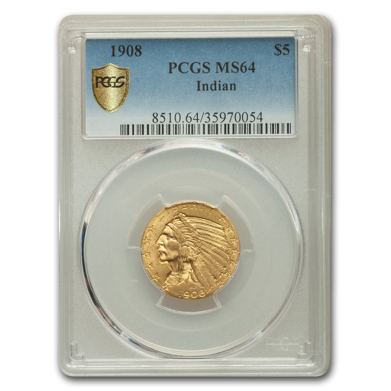 1908 $5 Indian Gold Half Eagle MS-64 PCGS