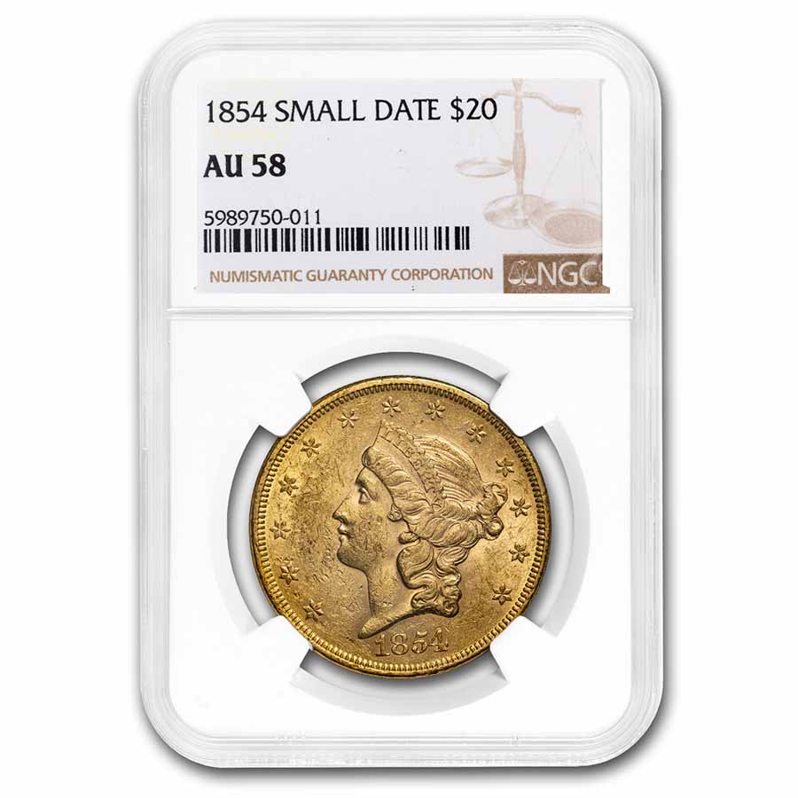 1854 $20 Liberty Double Eagle Almost Unc - 58 NGC