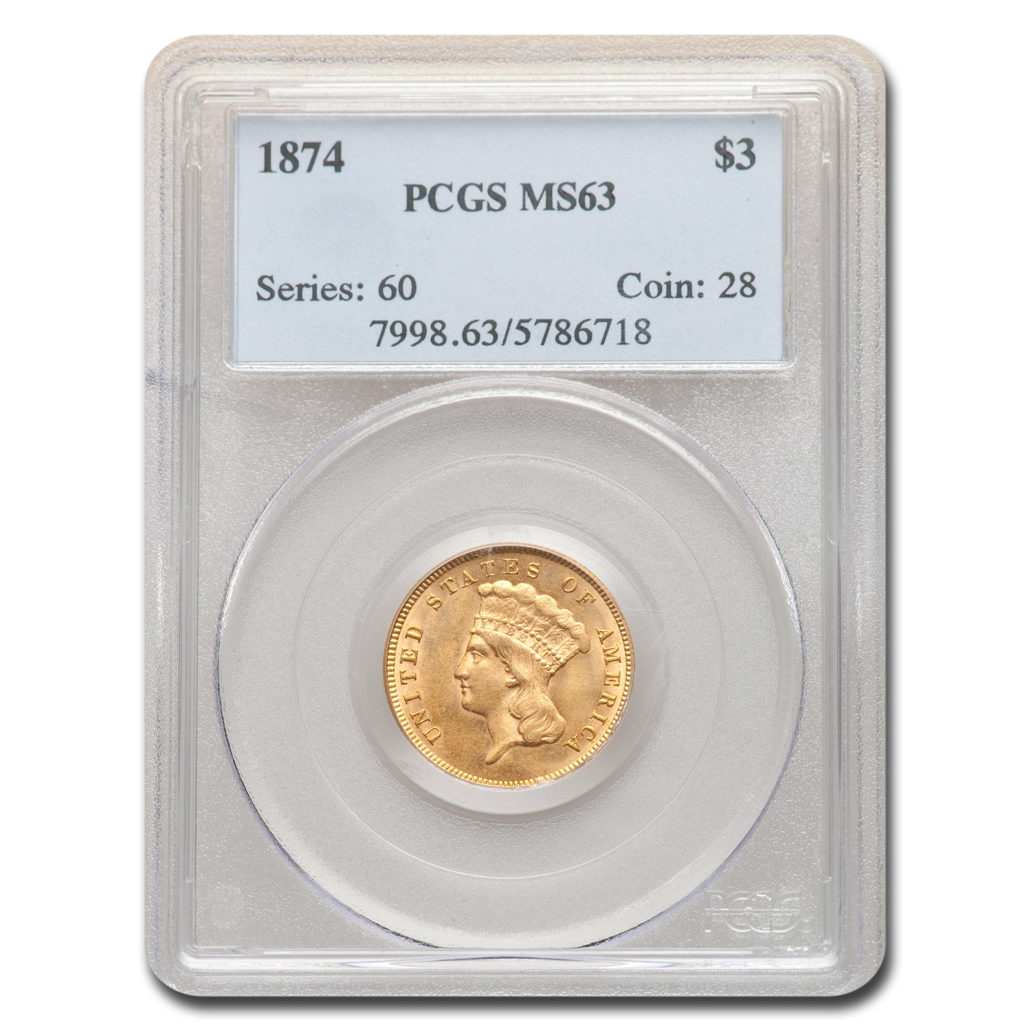 1874 $3 Three Dollar Gold Piece MS-63 PCGS
