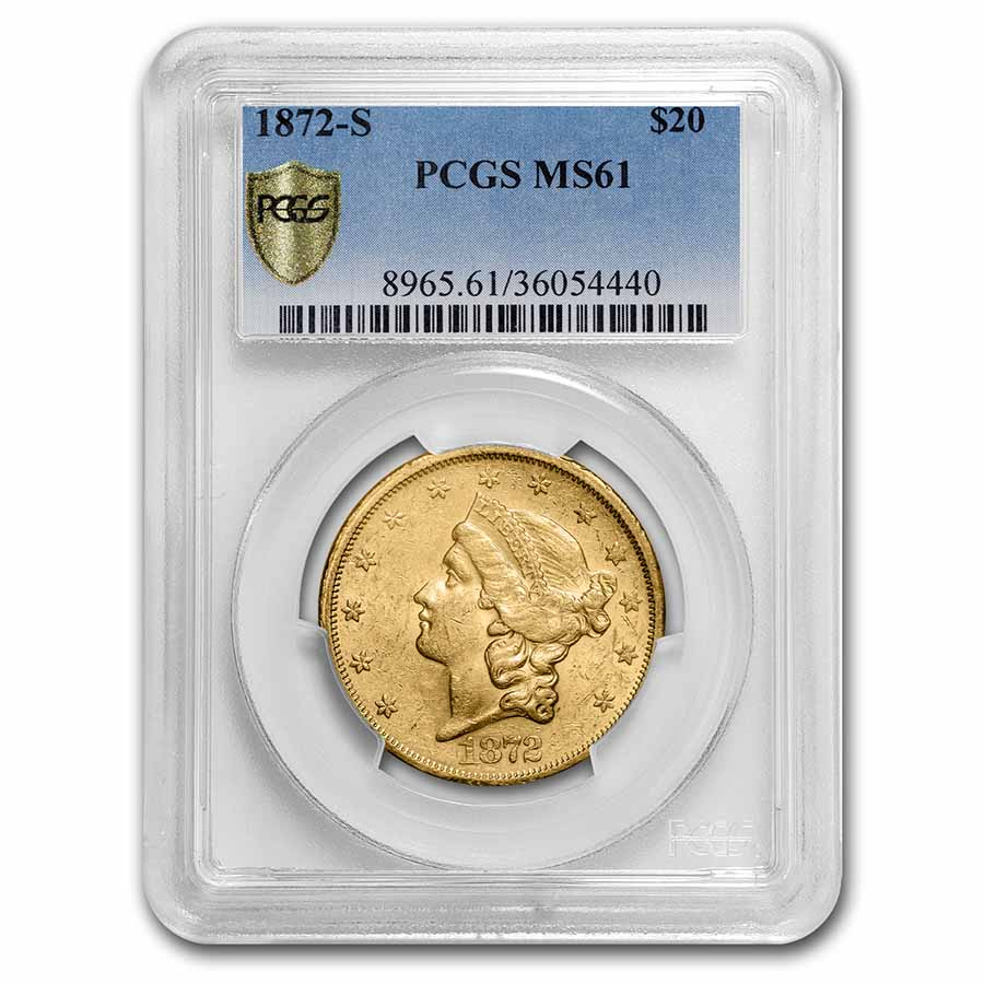 1872-S $20 Liberty Double Eagle MS-61 PCGS