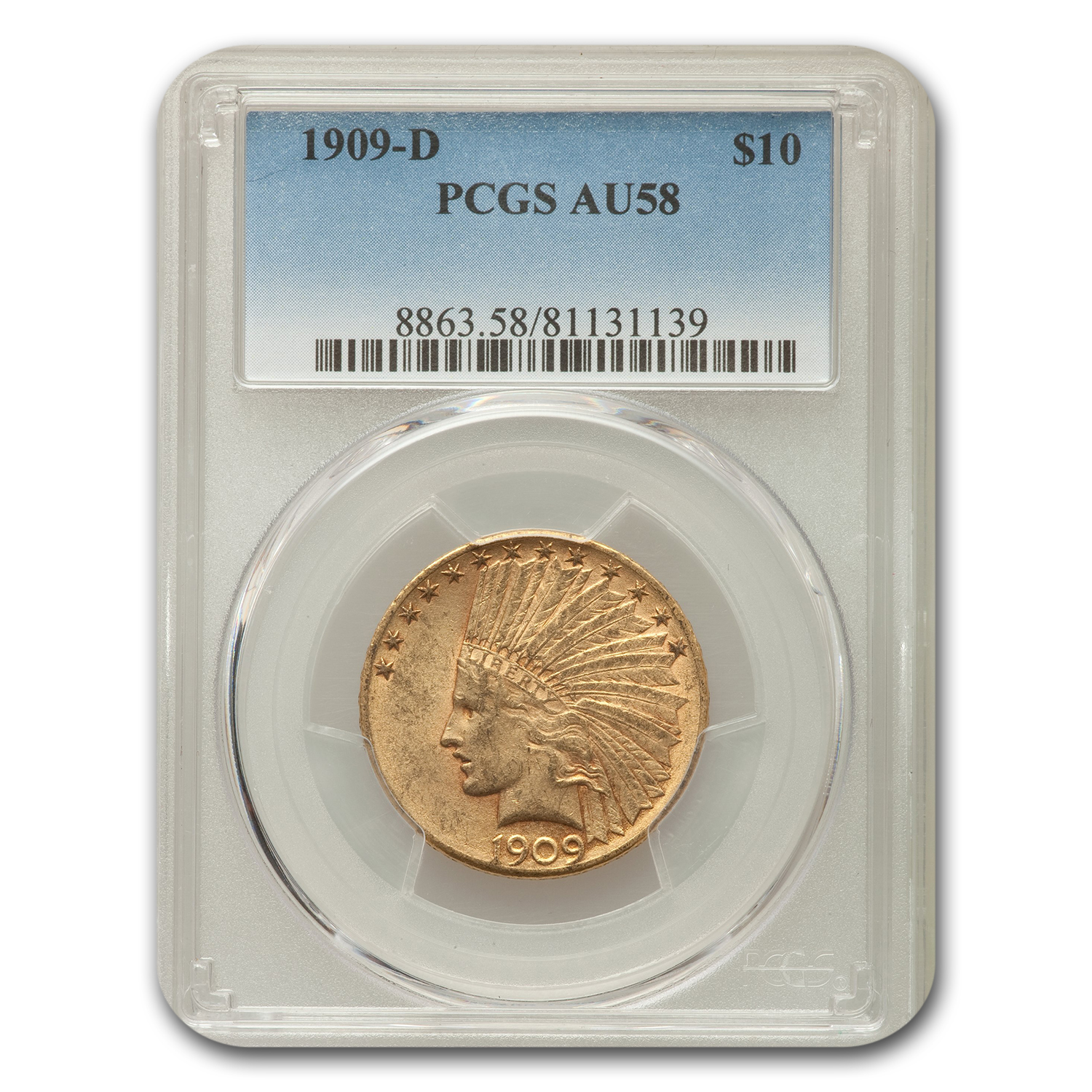 1909-D $10 Indian Gold Eagle AU-58 PCGS