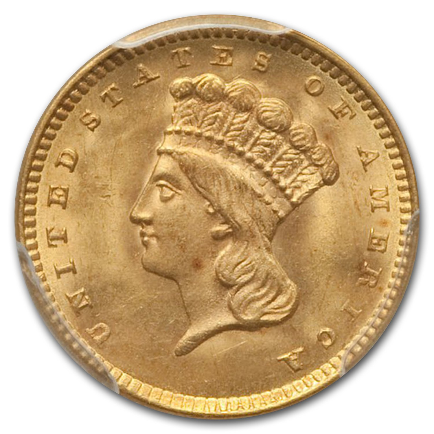 1856 $1.00 Indian Head Gold Type 3 MS-65 PCGS (Slanted 5)
