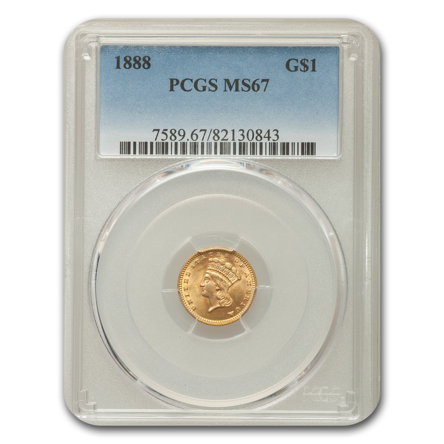 1888 G$1 Gold Dollar MS-67 PCGS
