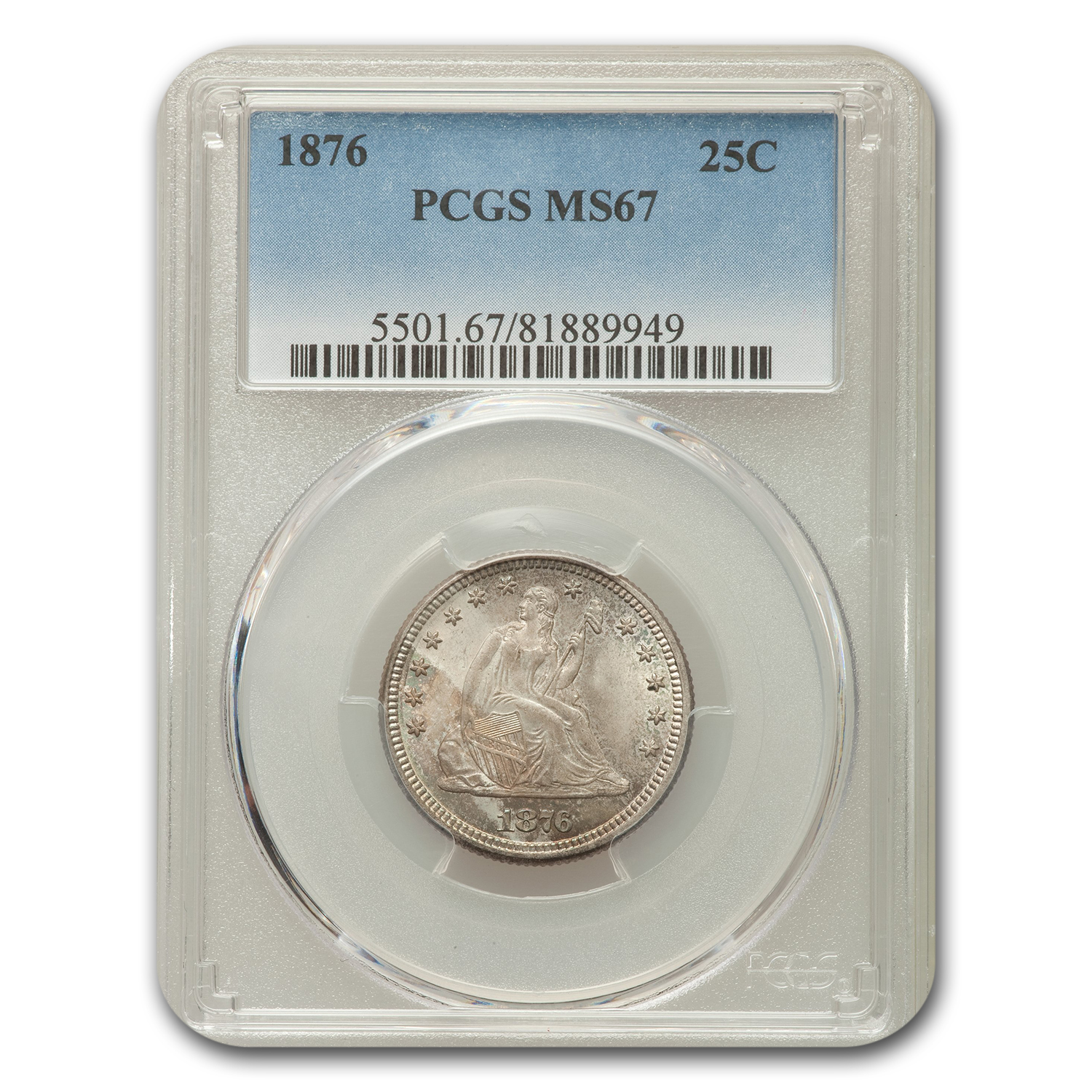 1876 Liberty Seated Quarter MS-67 PCGS