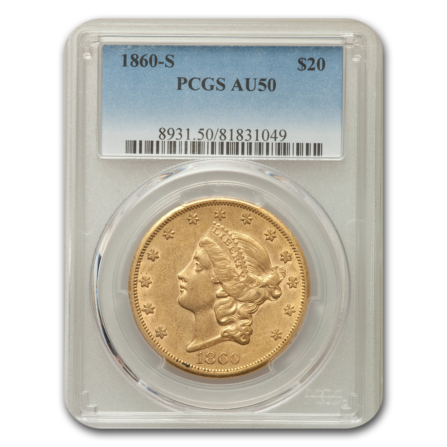 1860 $20 Liberty Double Eagle Almost Unc - 50 PCGS