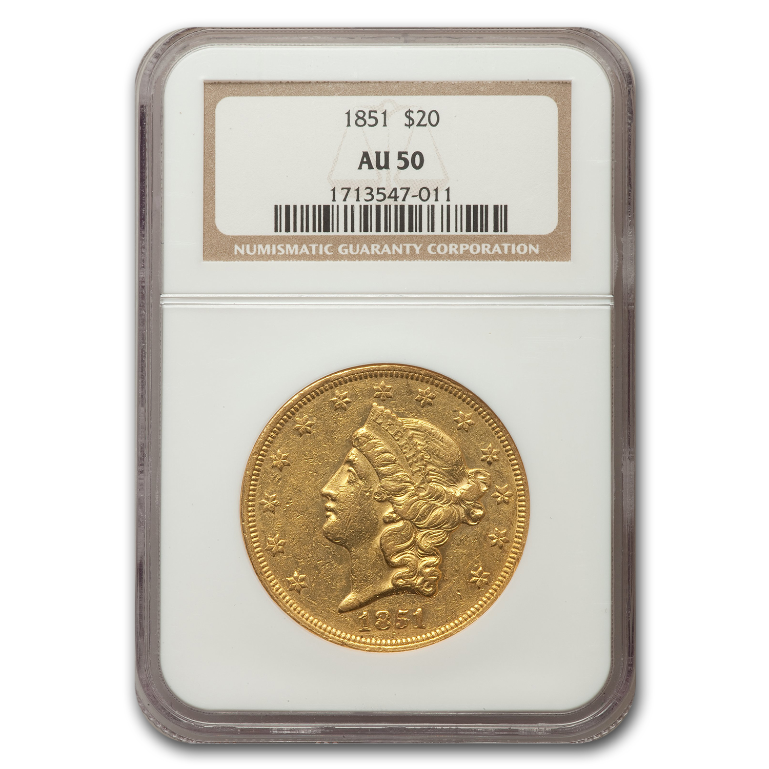 1851 $20 Liberty Gold Double Eagle Almost Unc - 50 NGC