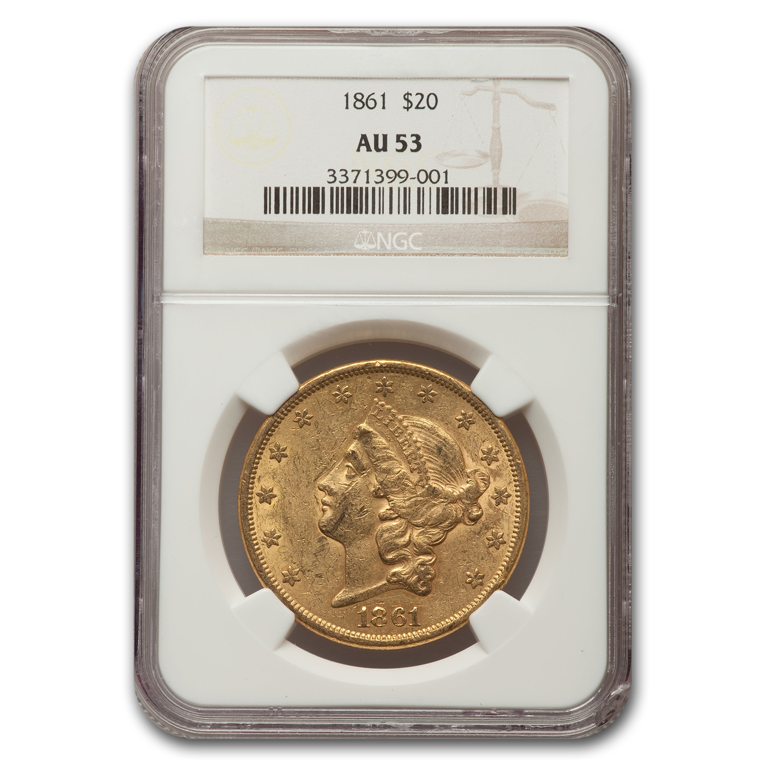 1861 $20 Liberty Gold Double Eagle Almost Unc - 53 NGC