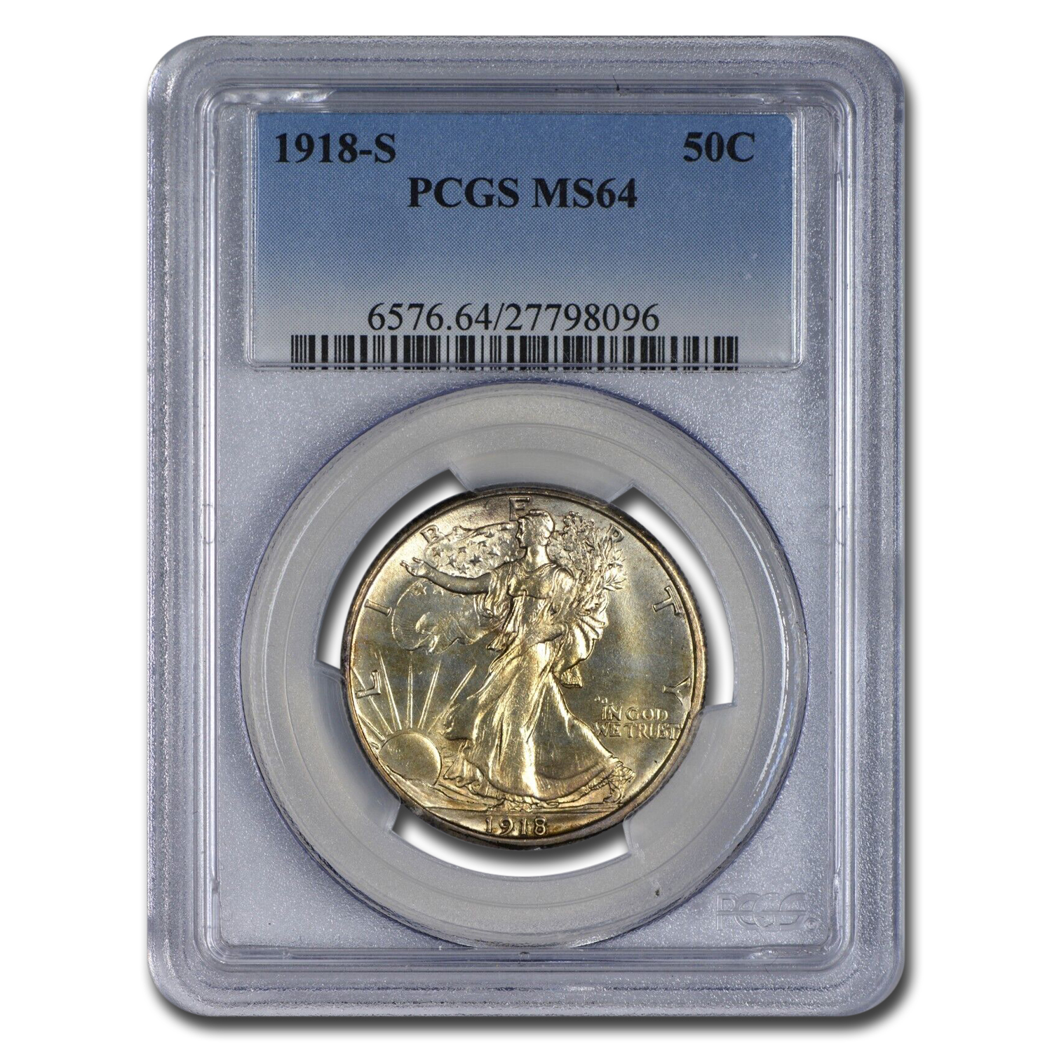 1918 50C Walking Liberty Half Dollar MS-64 PCGS