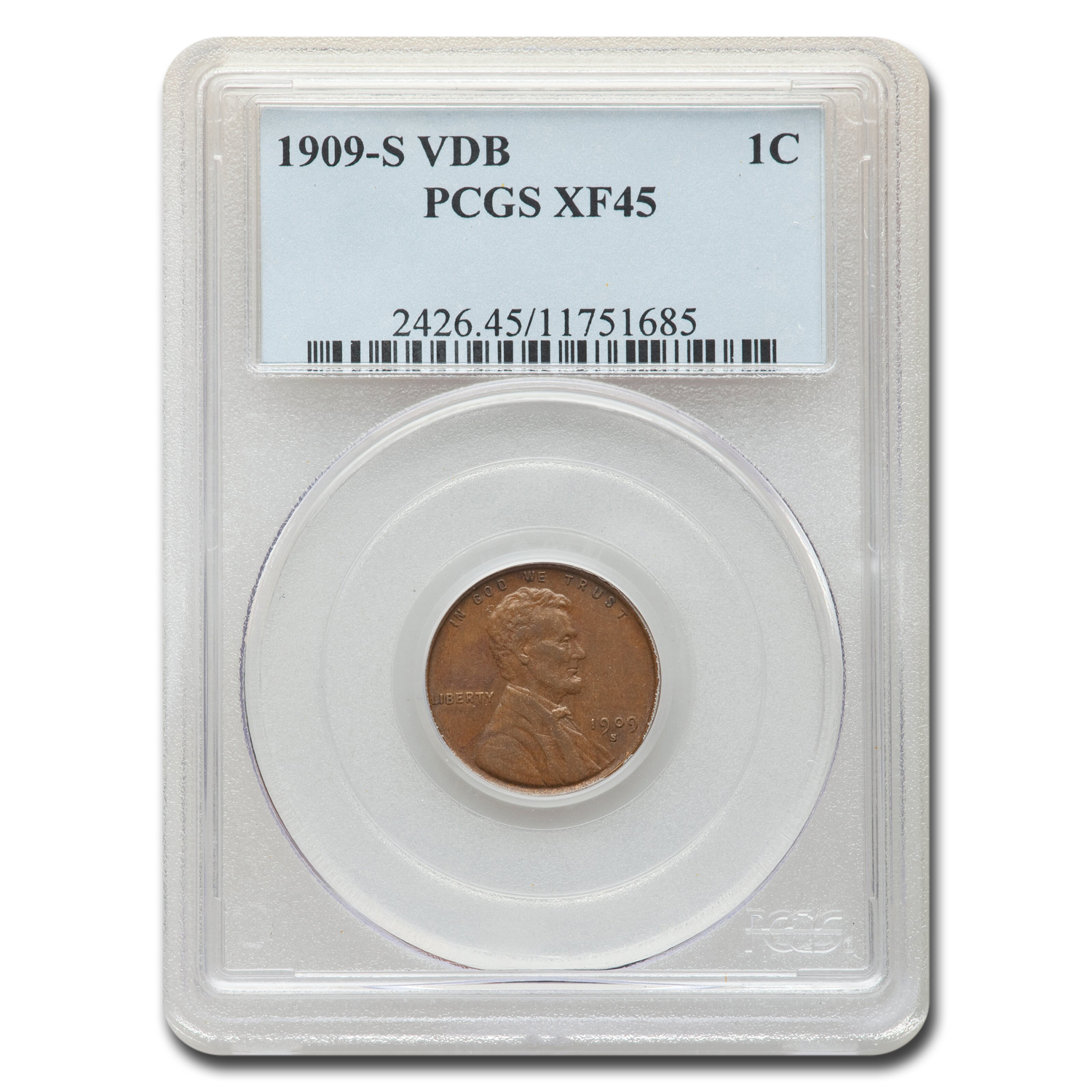 1909 1C Lincoln Cent Extra Fine - 45 0 PCGS