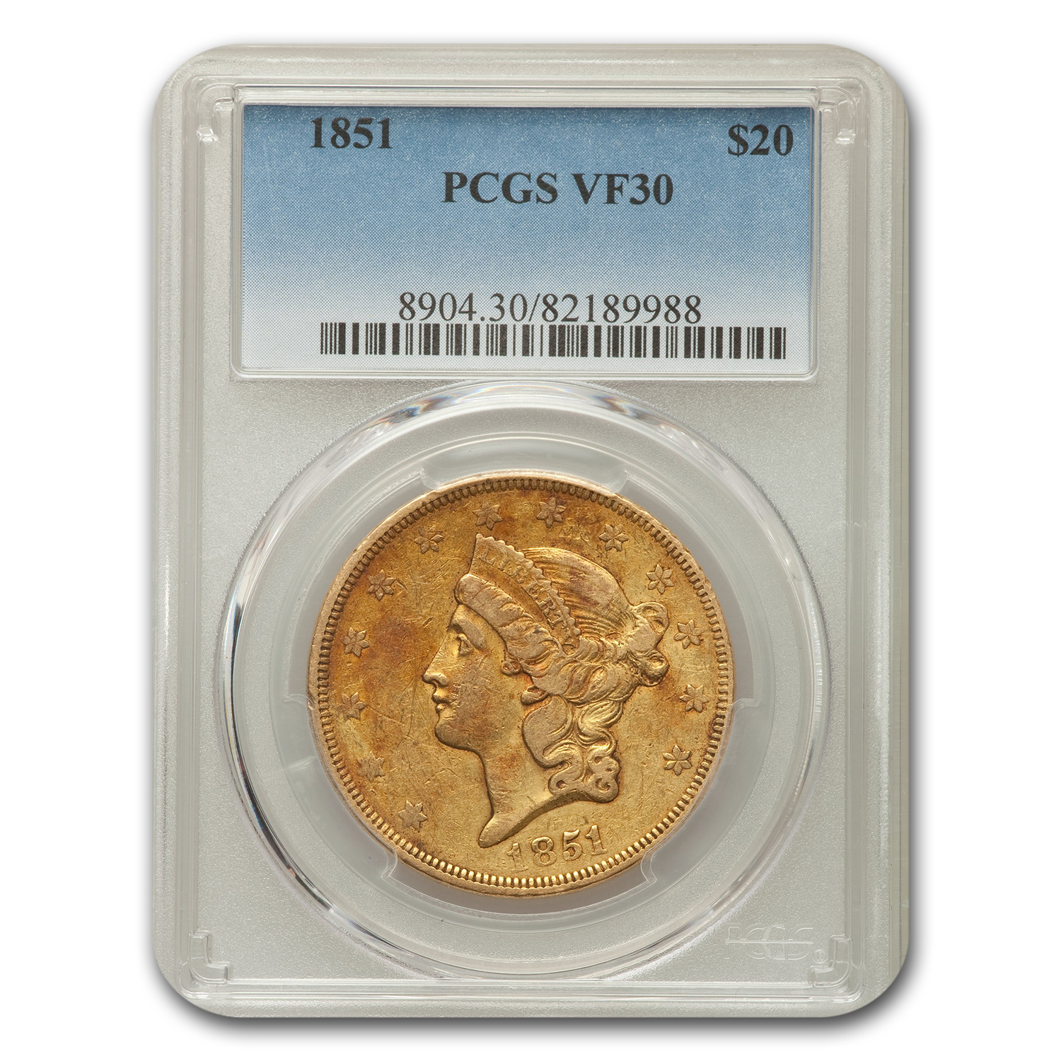 1851 $20 Liberty Double Eagle VF-30 PCGS