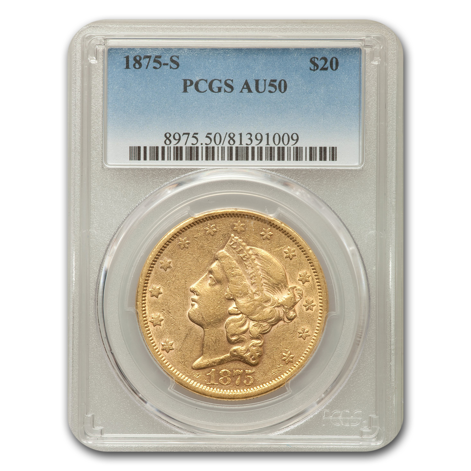 1875 $20 Liberty Double Eagle Almost Unc - 50 PCGS