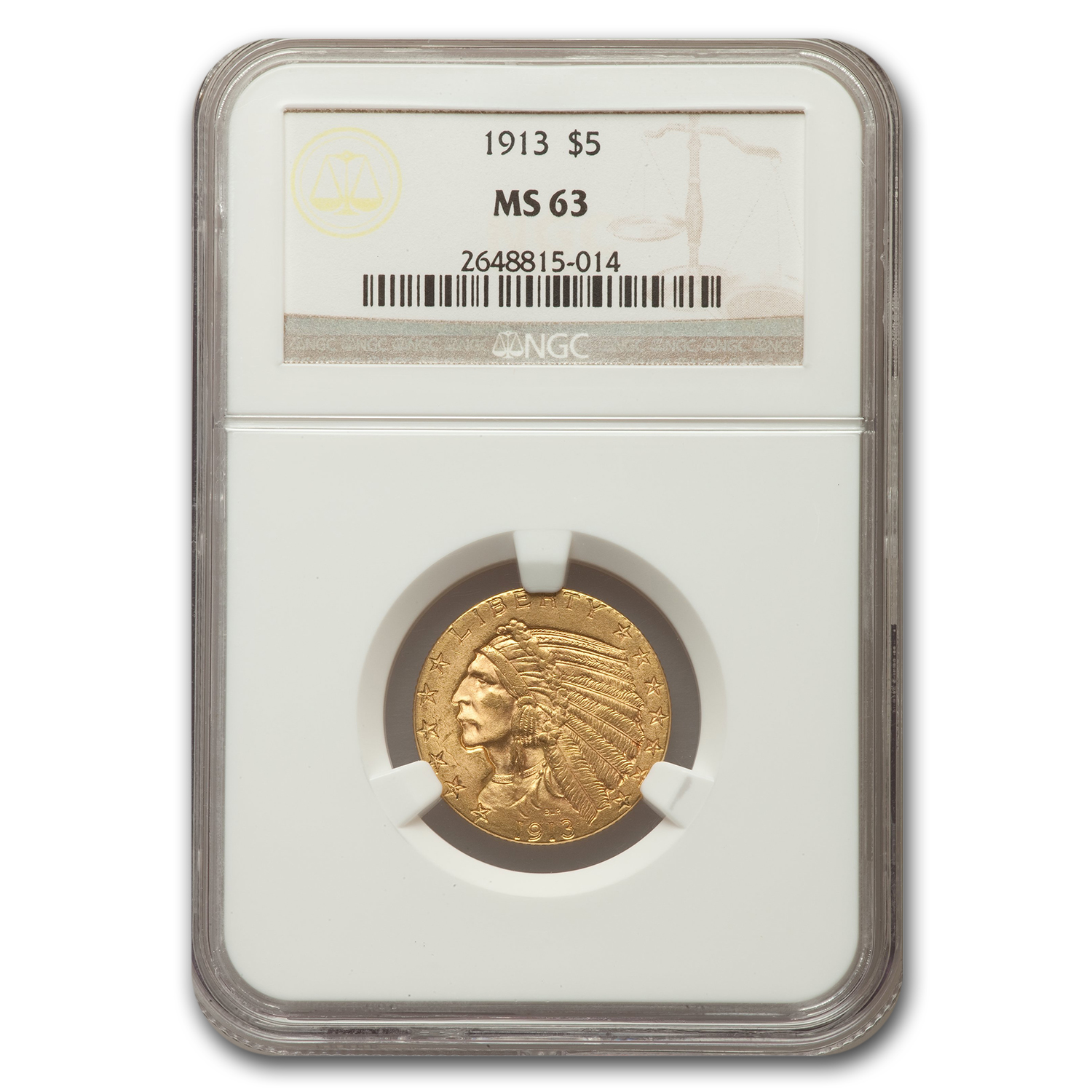 1913 $5 Indian Half Eagle MS-63 NGC