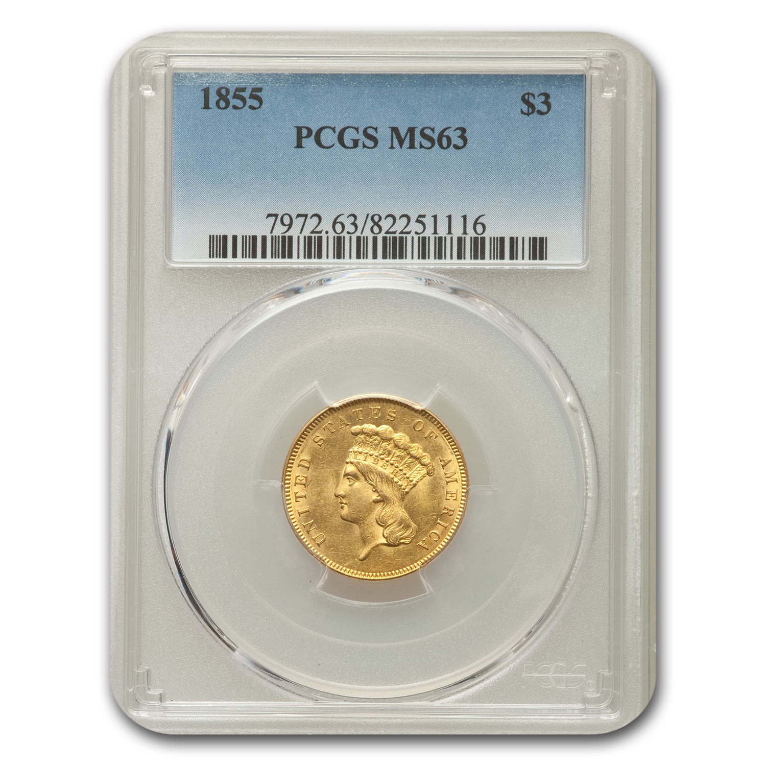1855 $3 Three Dollar Gold Piece MS-63 PCGS