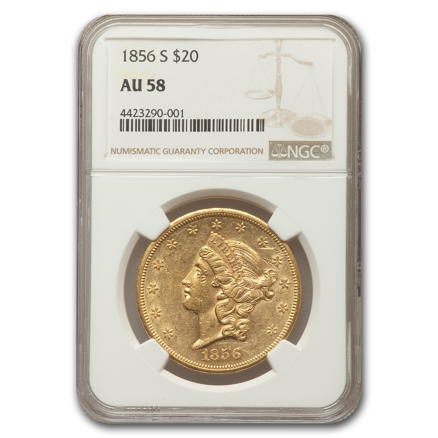 1856 20 Liberty Double Eagle Almost Unc - 58 NGC