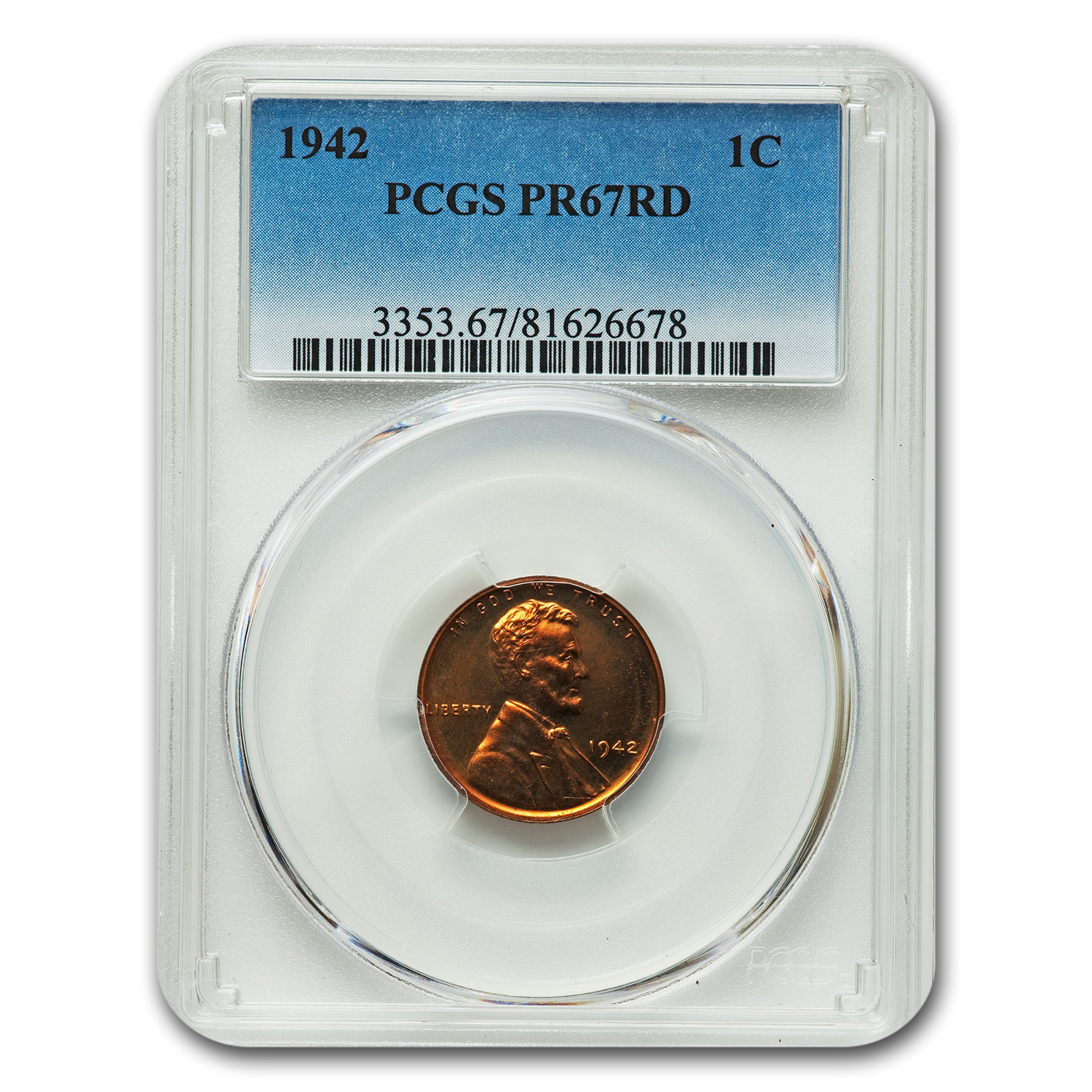 1942 Lincoln Cent PR-67 PCGS (Red)