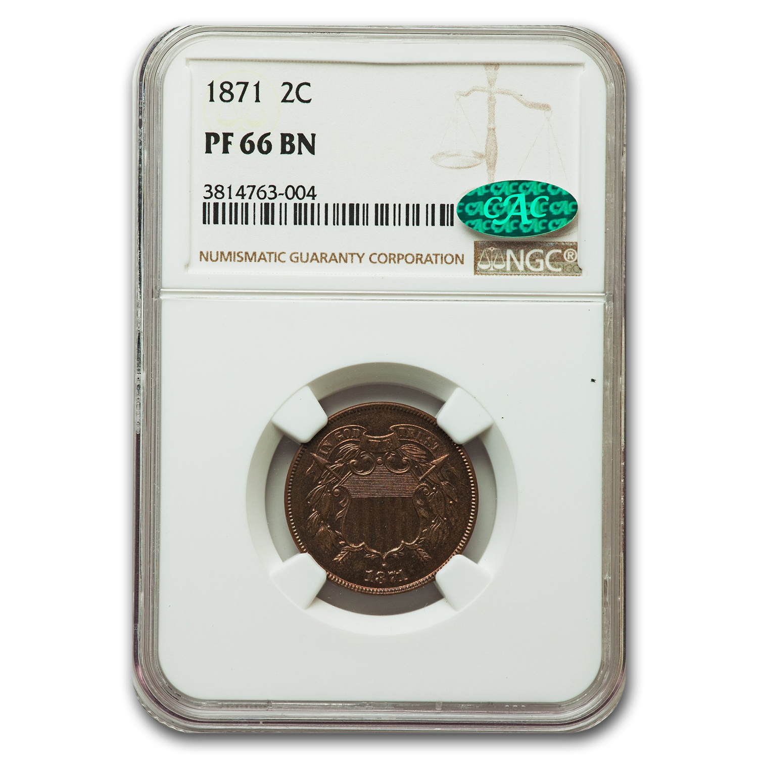 1871 2C Two Cent Piece Proof - 66 CAC NGC