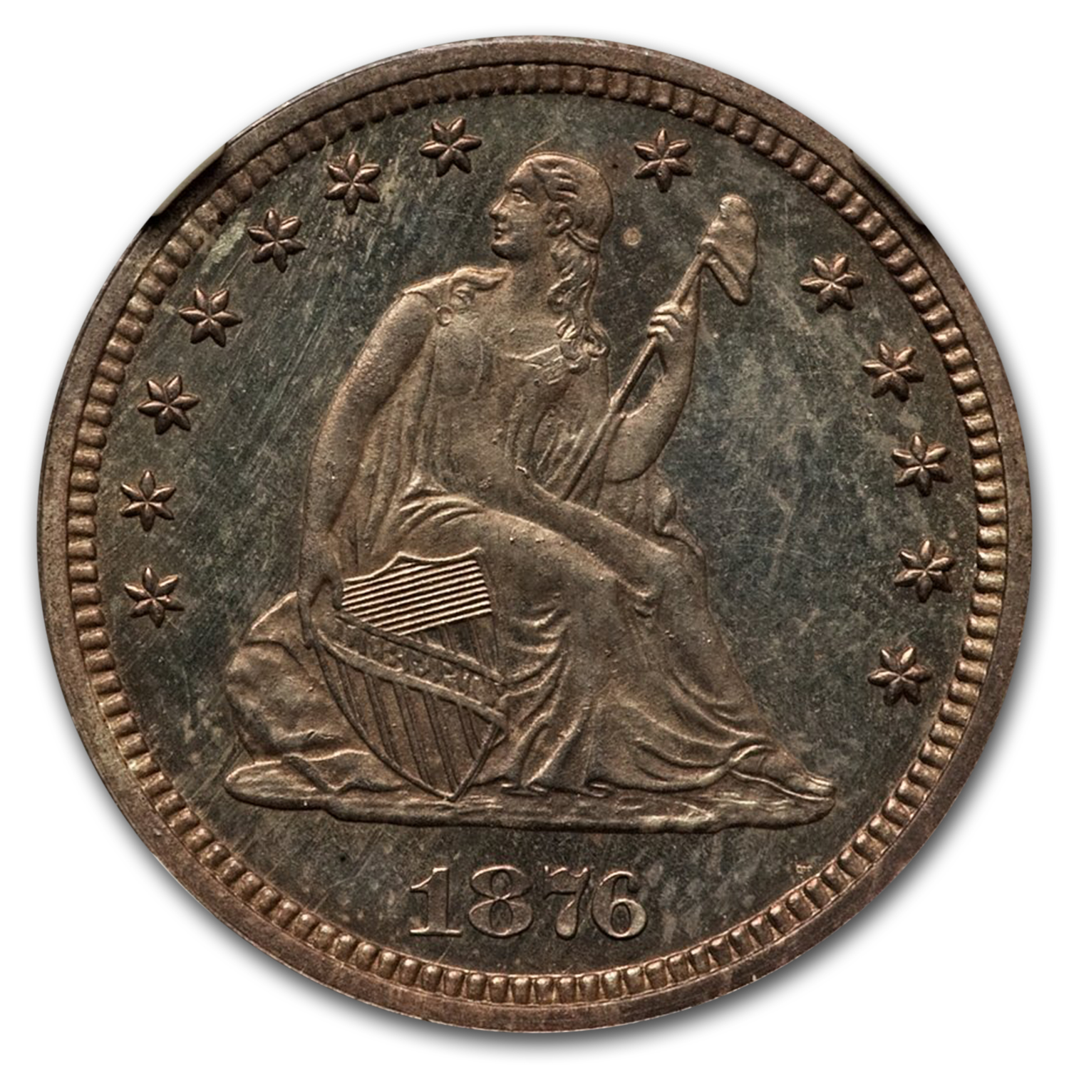 1876 25C Seated Quarter Proof - 66 NGC