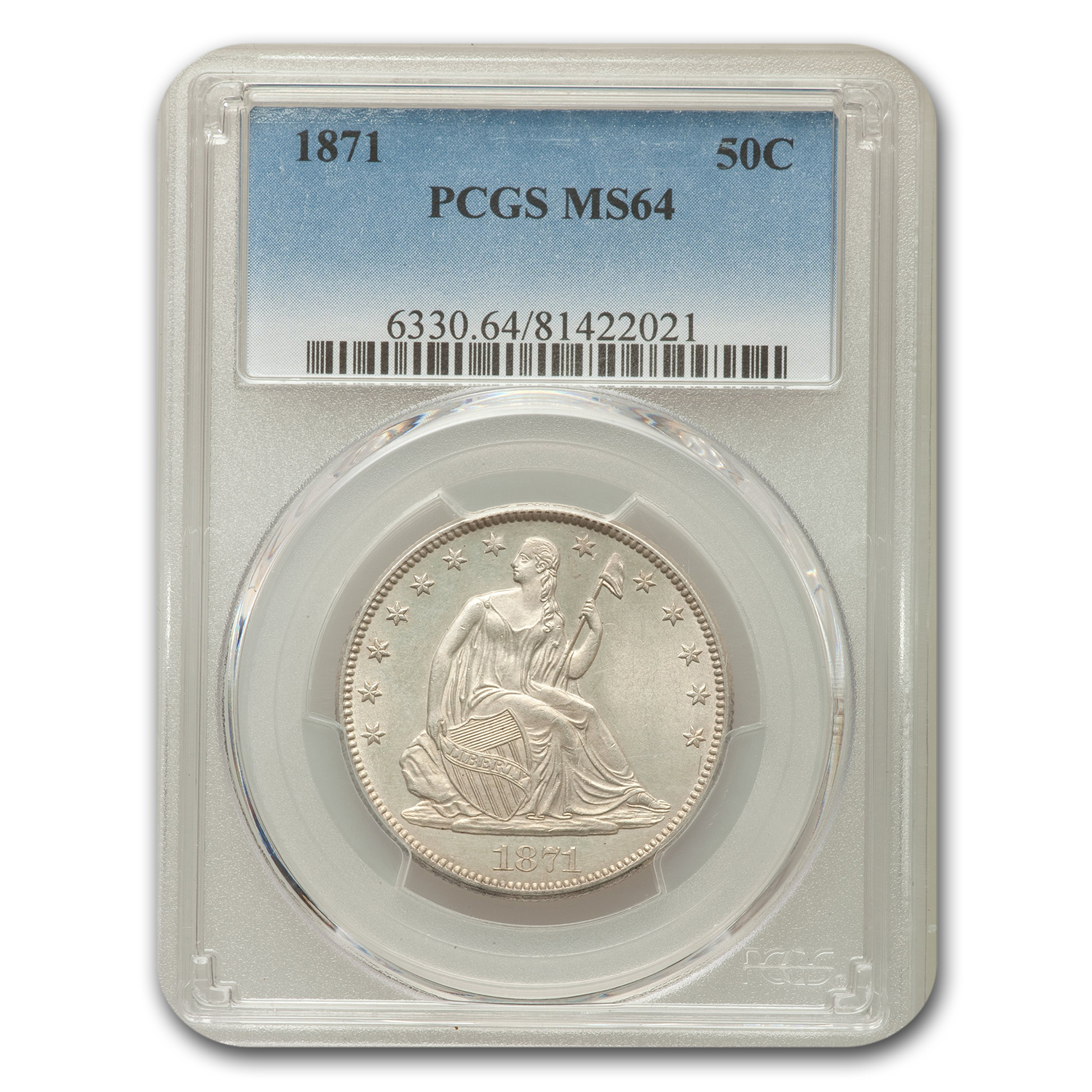 1871 50C Seated Half Dollar MS-64 PCGS