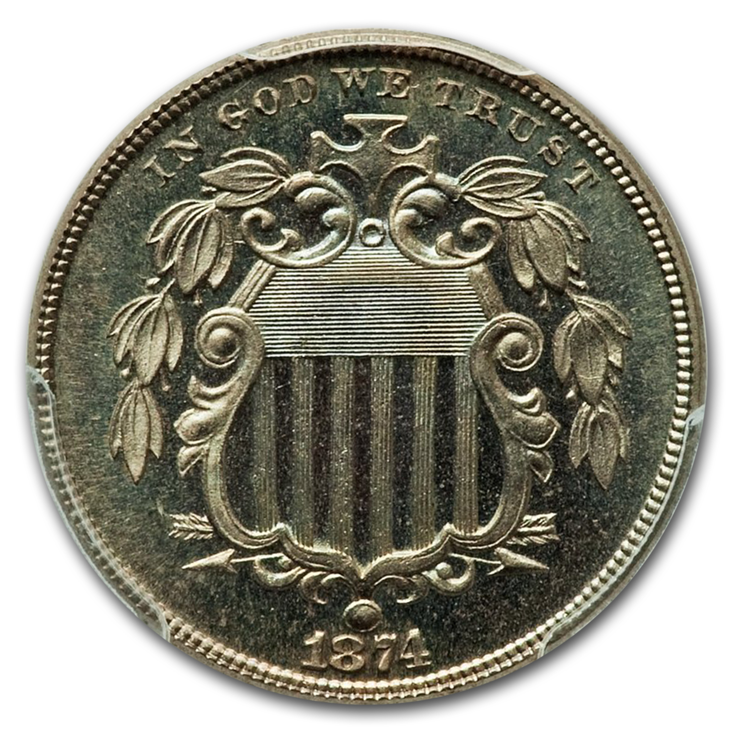 1874 5C Shield Nickel Proof - 65 PCGS