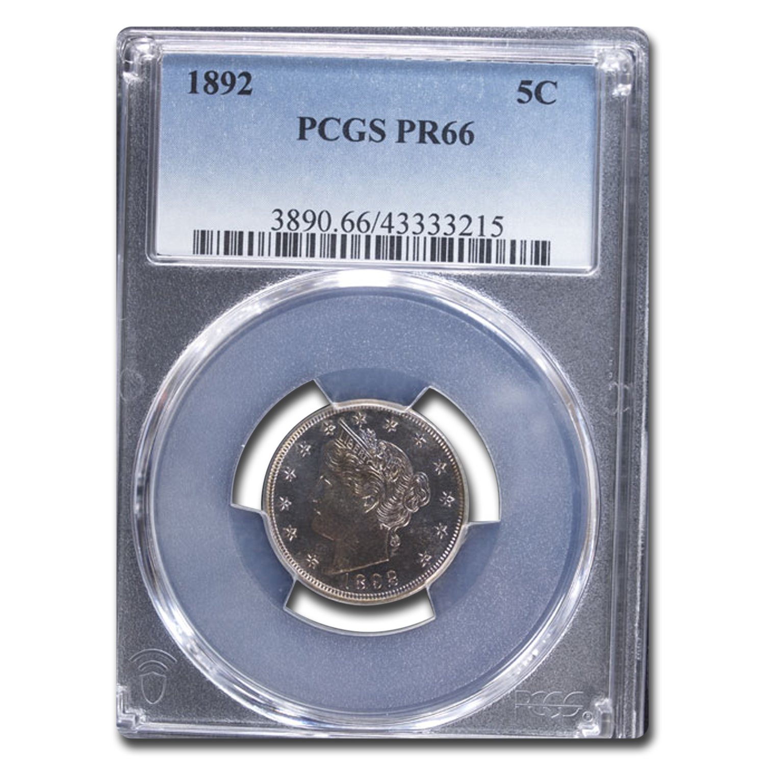 1892 5C Liberty Nickel Proof - 66 PCGS