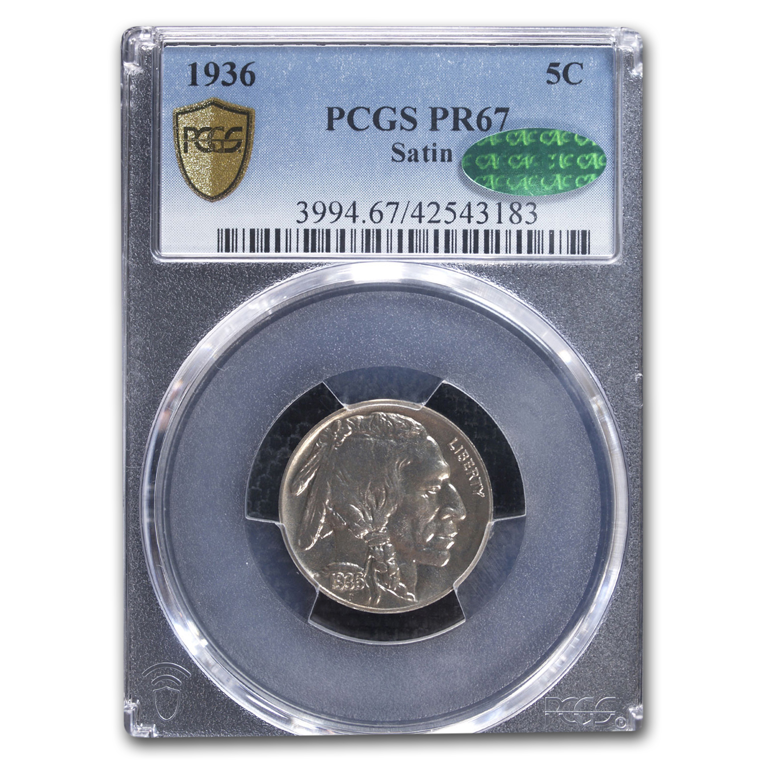 1936 5C Buffalo Nickel Proof - 67 CAC PCGS