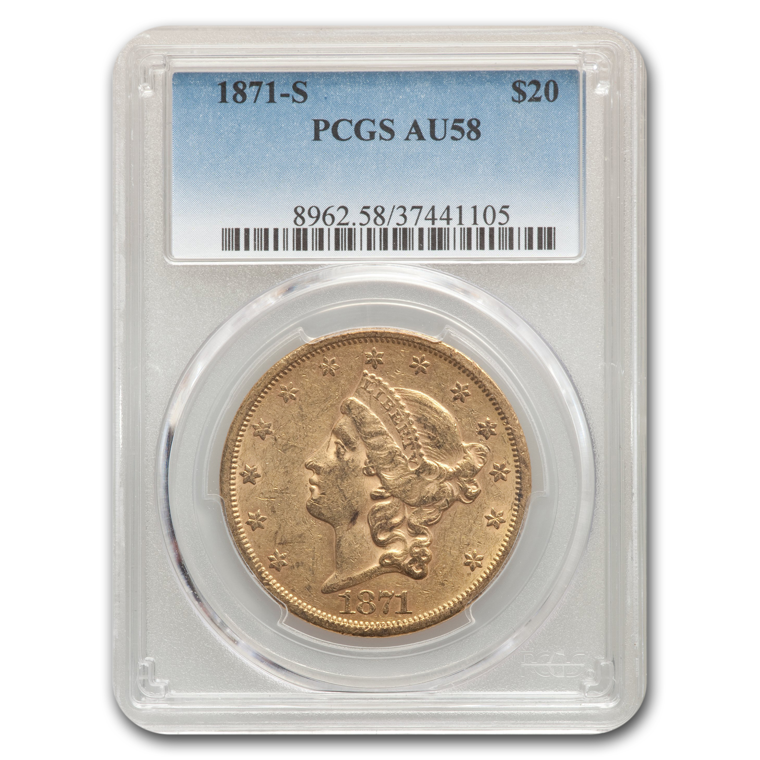 1871-S $20 Liberty Gold Double Eagle AU-58 PCGS