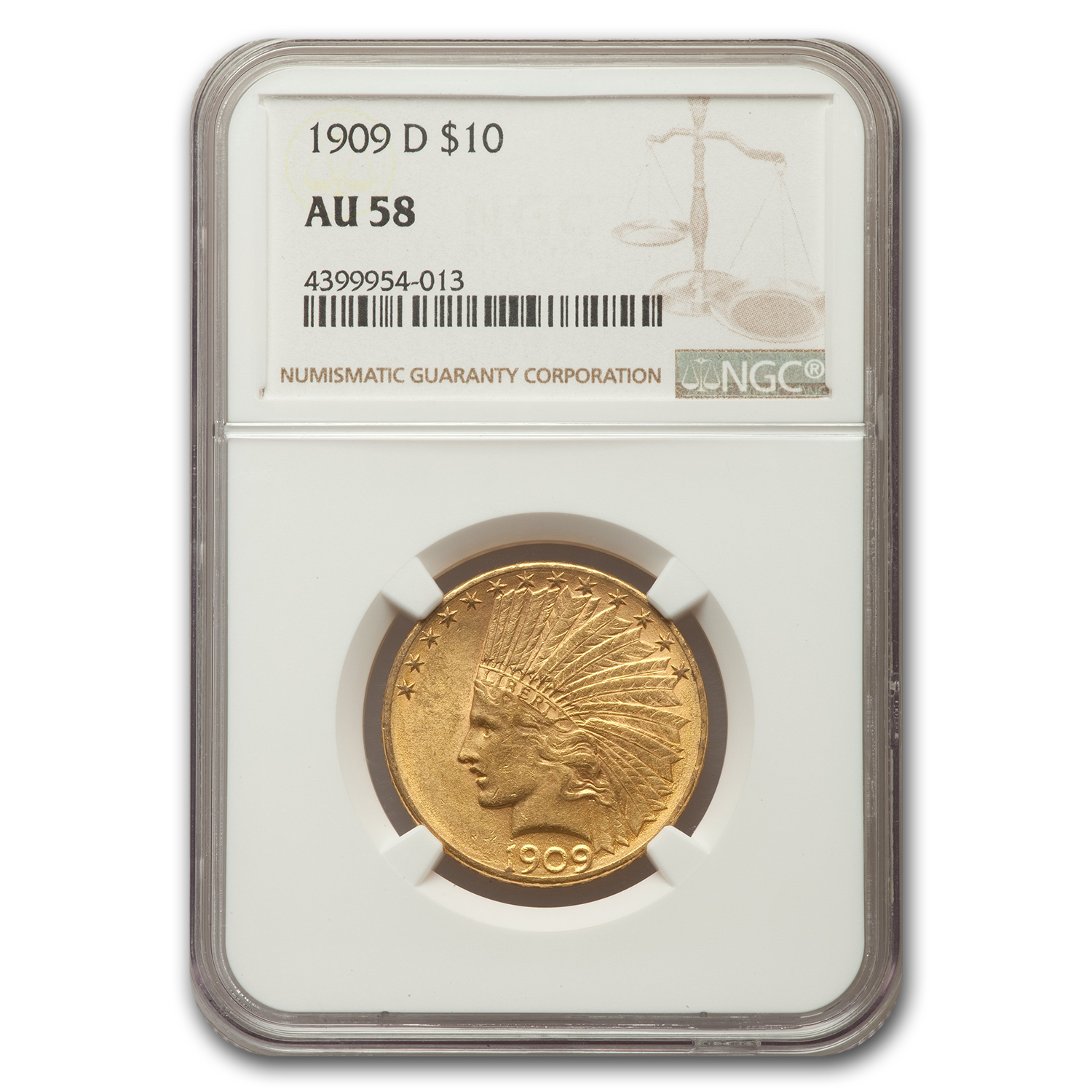 1909-D $10 Indian Gold Eagle Almost Unc - 58 NGC