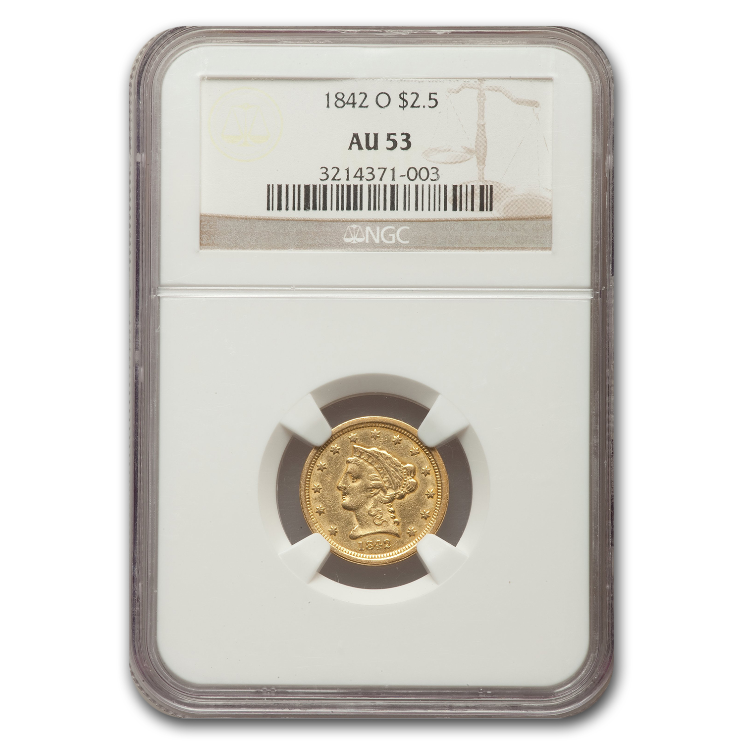 1842 2.5 Liberty Quarter Eagle Almost Unc - 53 NGC