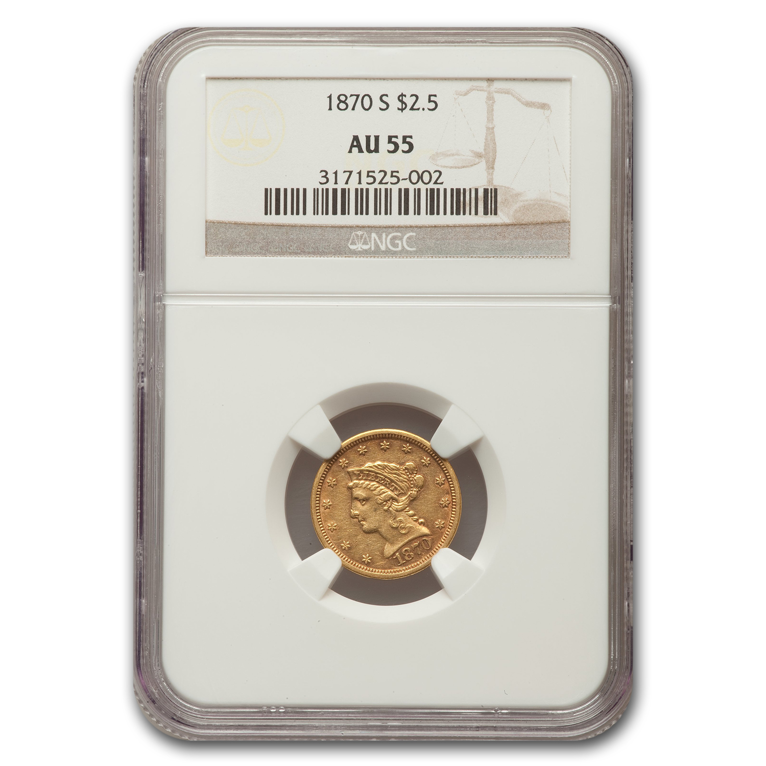 1870-S $2.50 Liberty Quarter Eagle AU-55 NGC