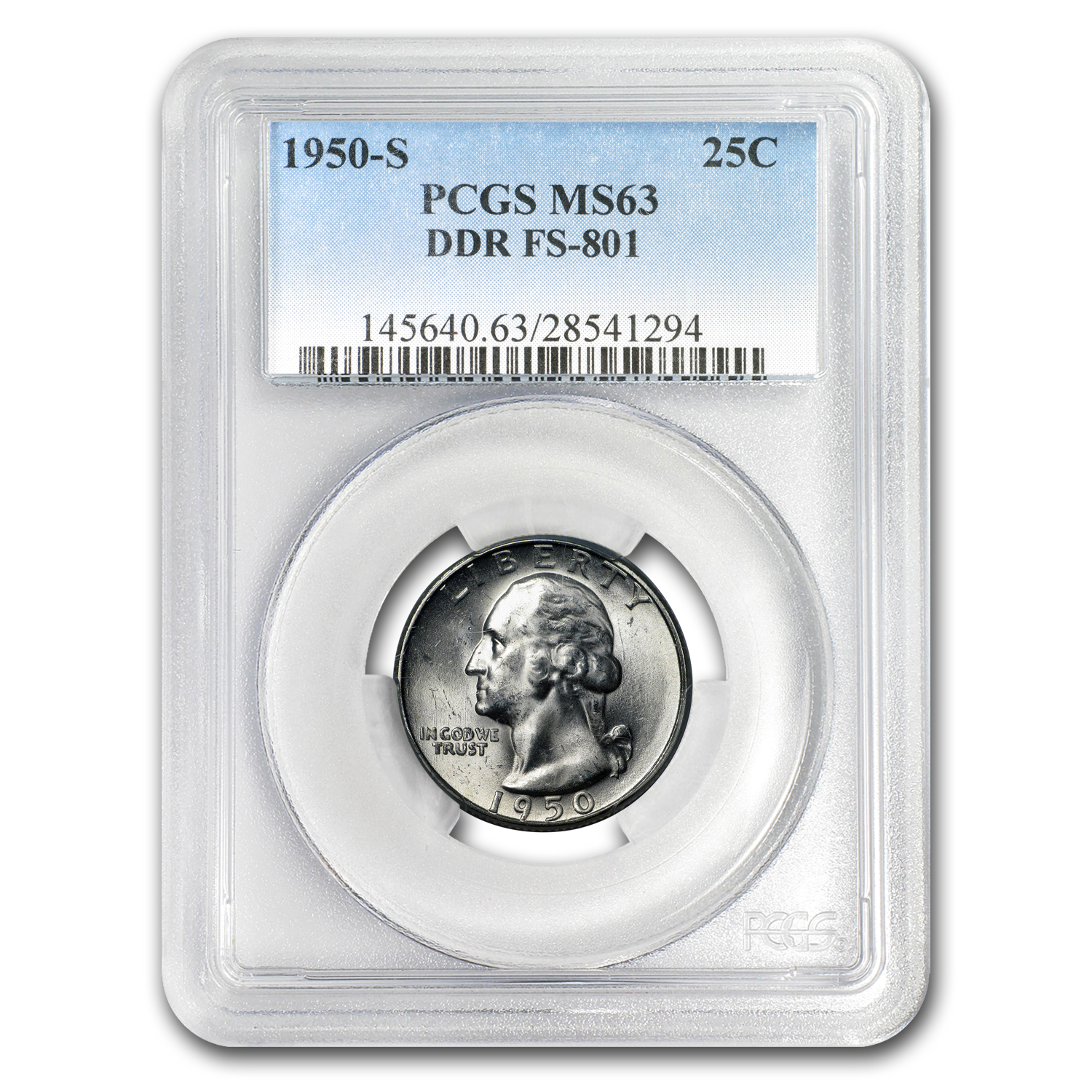 1950-S Washington Quarter MS-63 PCGS (Doubled Die Rev, FS-801)