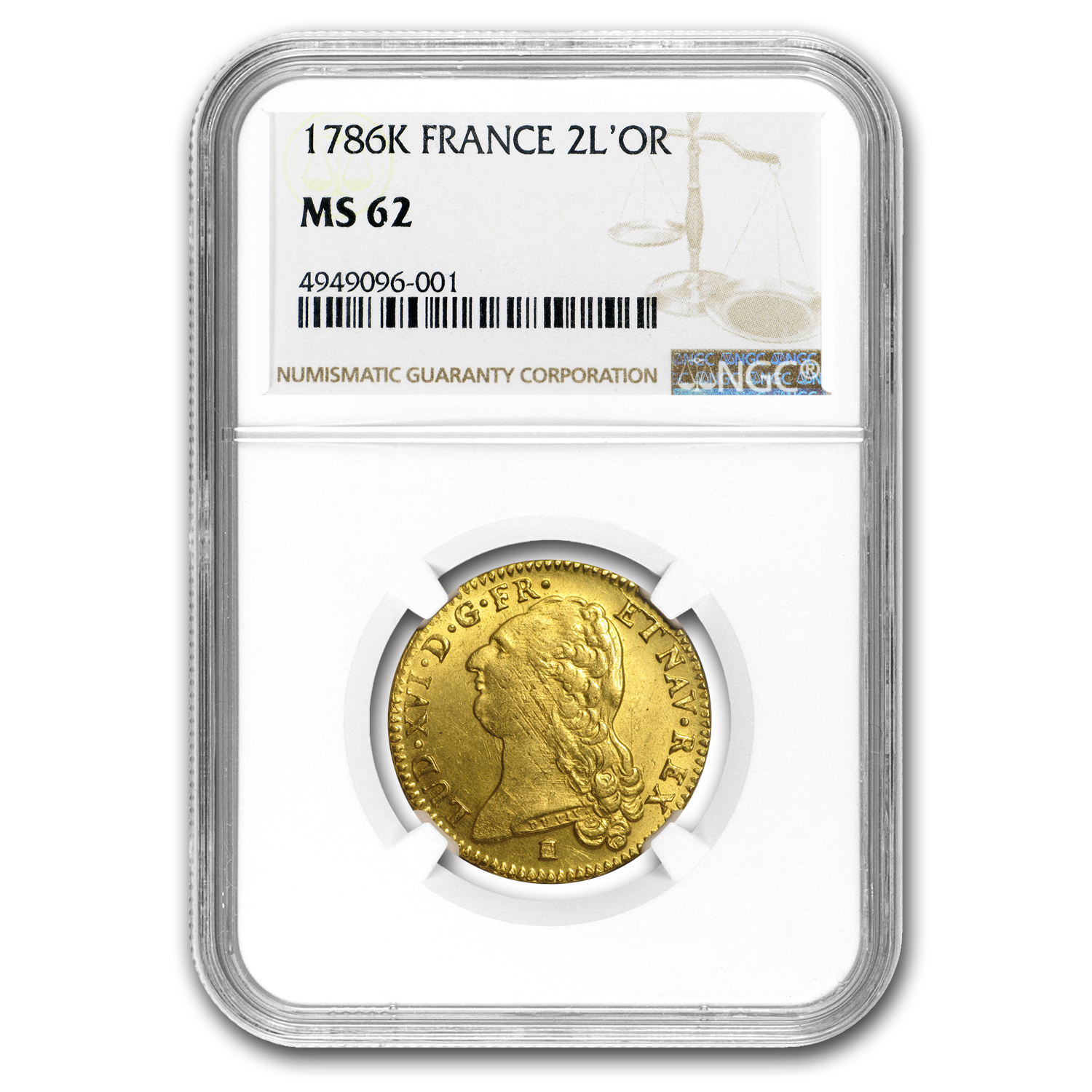 1786-K France Gold 2 Louis D'or MS-62 NGC