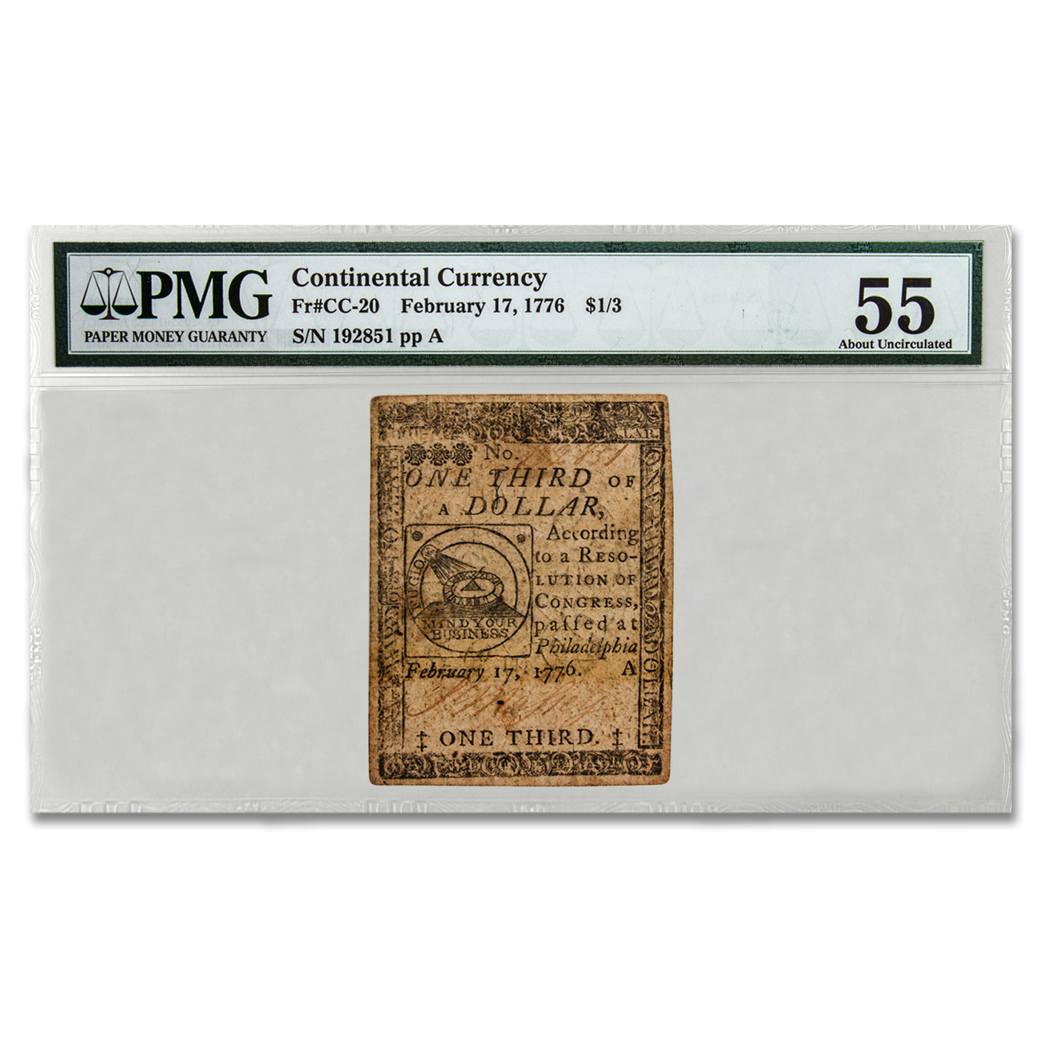 1776 One Third of a Dollar Continental Currency AU-55 PMG