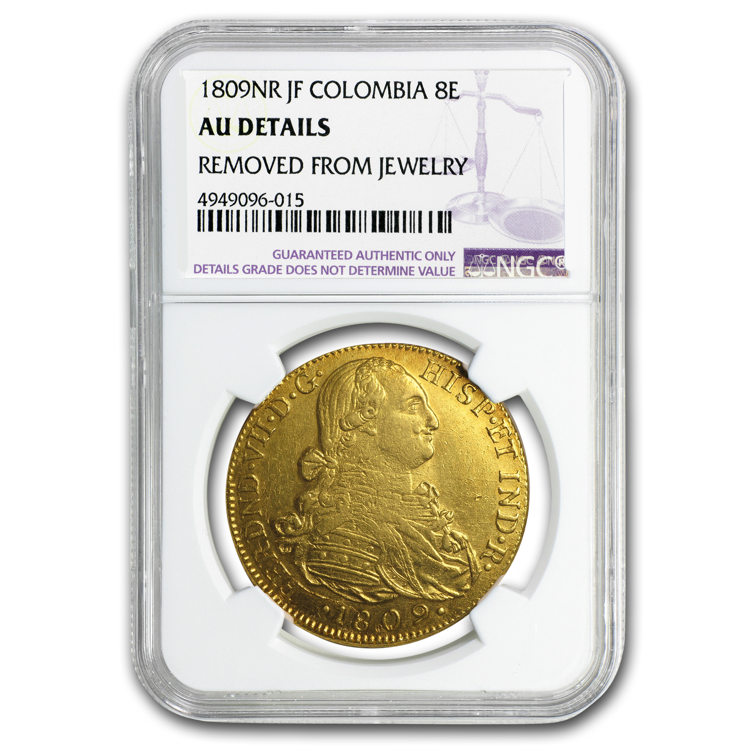 1809-NR JF Colombia Gold 8 Escudo Ferdinand VII AU Details NGC