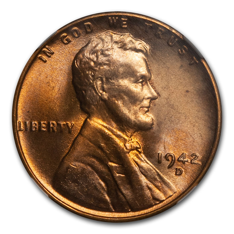 1942-D Lincoln Cent MS-67 NGC (Red)