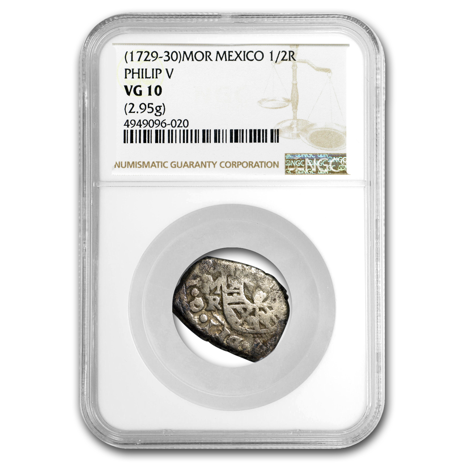 1729-30 MOR Mexico 1/2 Real Silver Philip V VG-10 NGC
