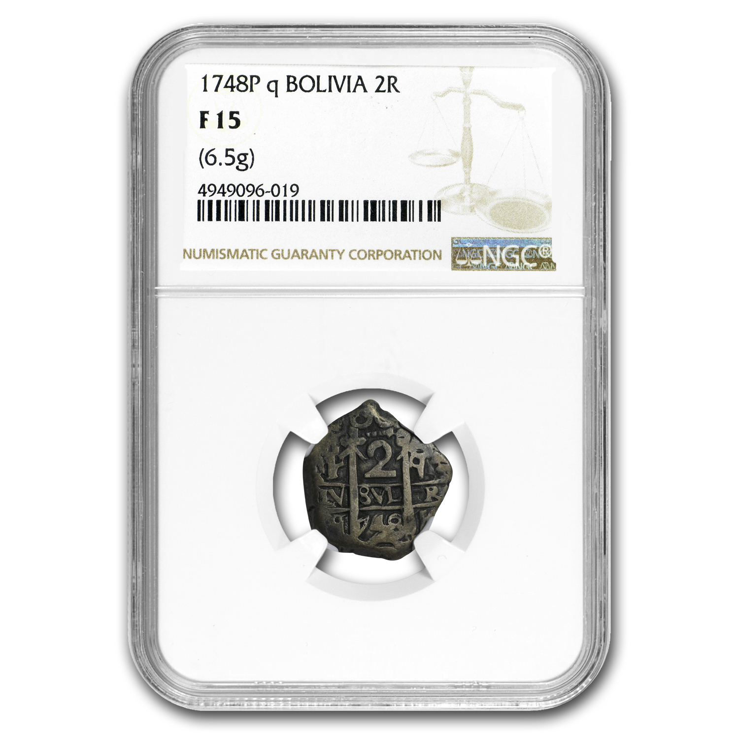 1748P Q Bolivia Silver 2 Reales Fine-15 NGC