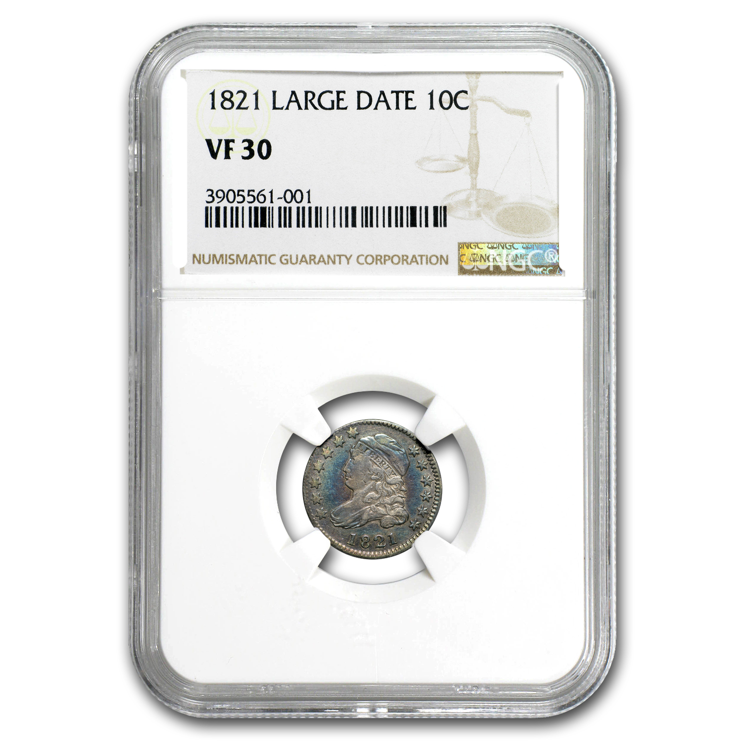 1821 Capped Bust Dime Large Date VF-30 NGC