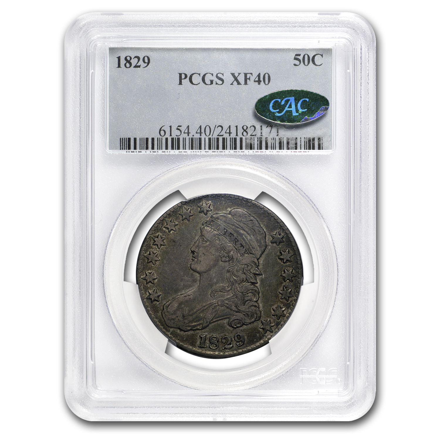 1829 Capped Bust Half Dollar XF-40 PCGS CAC