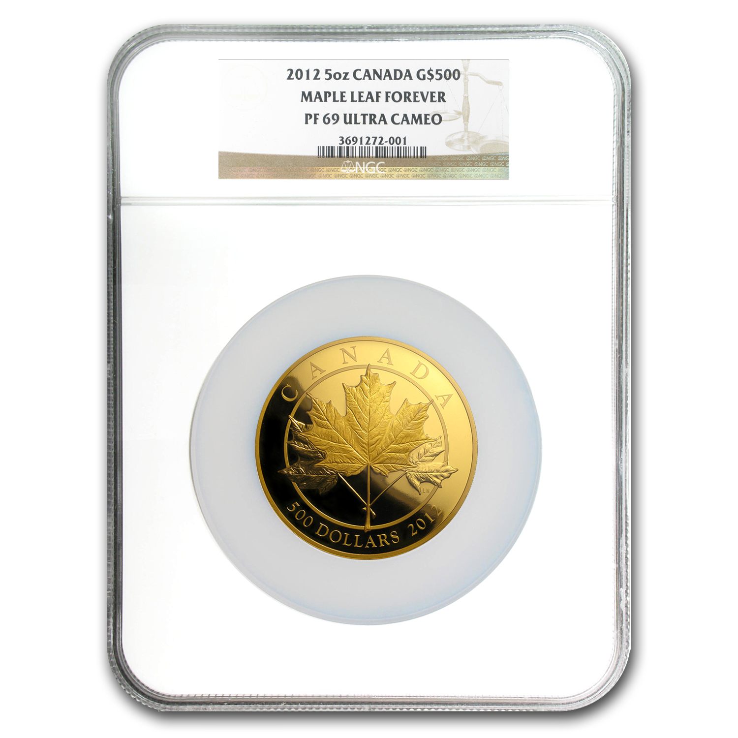 2012 Canada 5 oz Proof Gold $500 Maple Leaf Forever PF-69 NGC