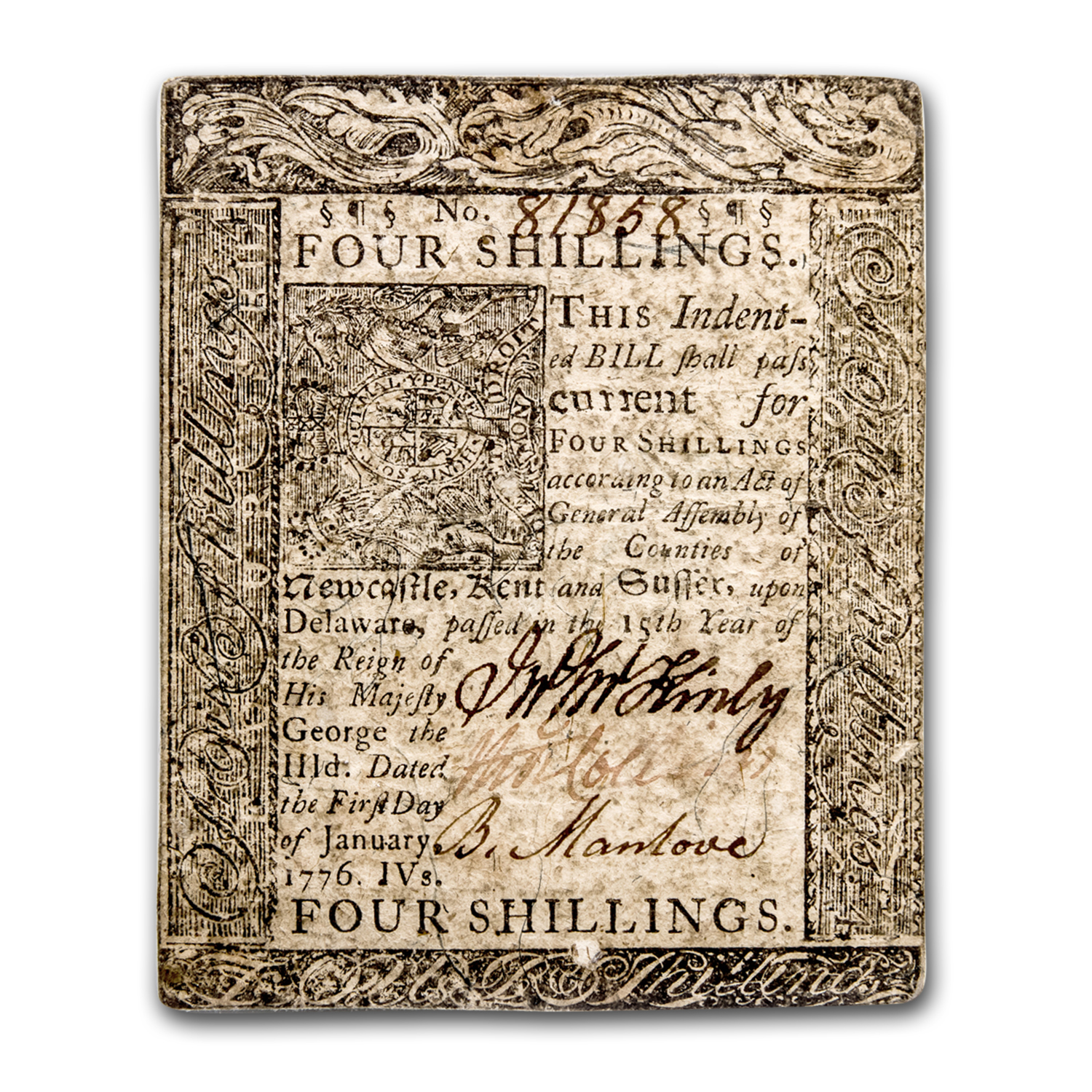 1776 4 Shillings Delaware Curr. 1/1/1776 Choice Very Fine-35 PMG