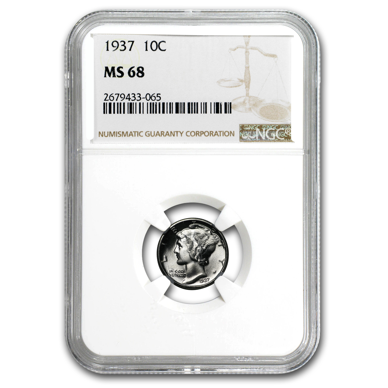 1937 Mercury Dime MS-68 NGC