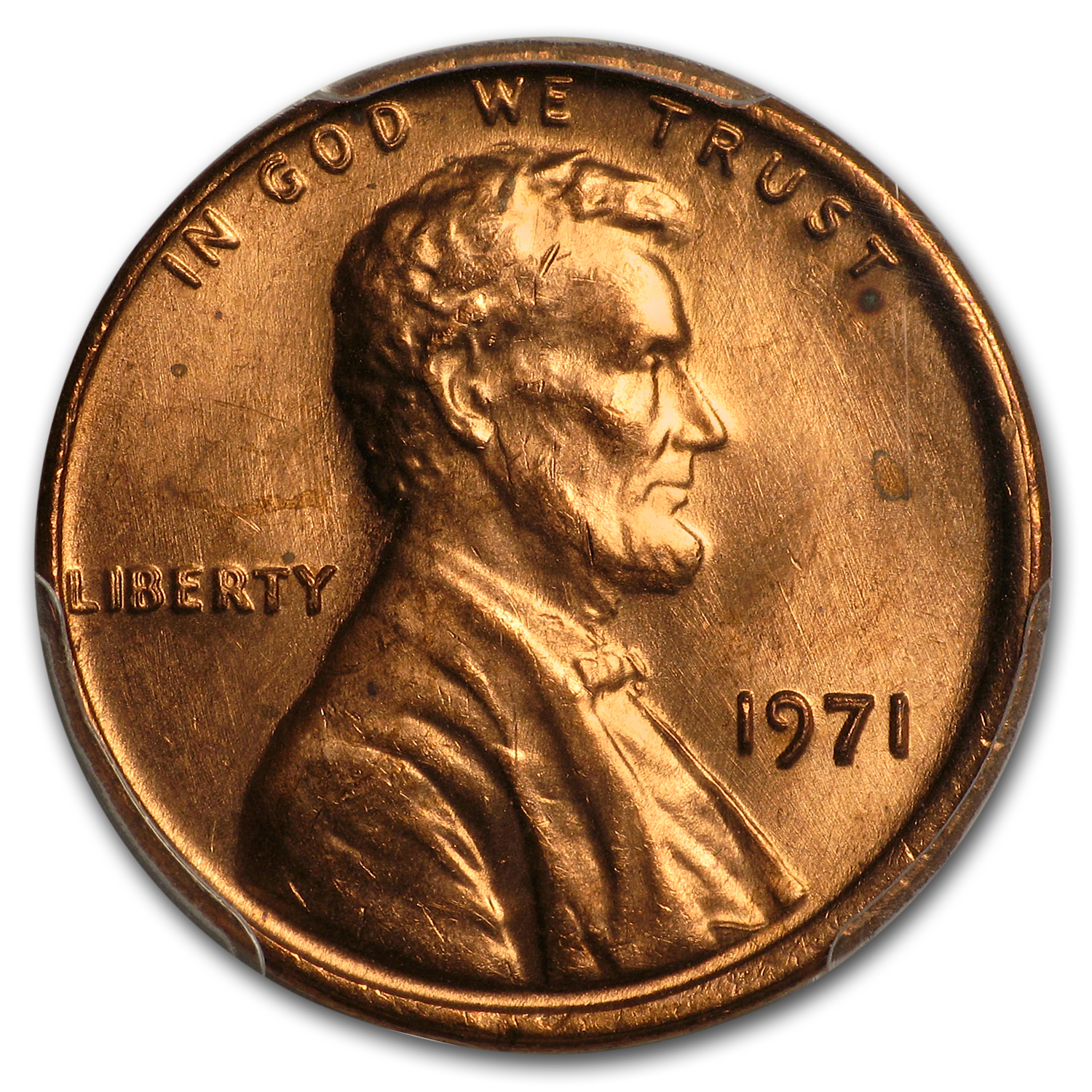 1971 Lincoln Cent Double Die Obverse MS-64 PCGS (FS-01-1971, Red)