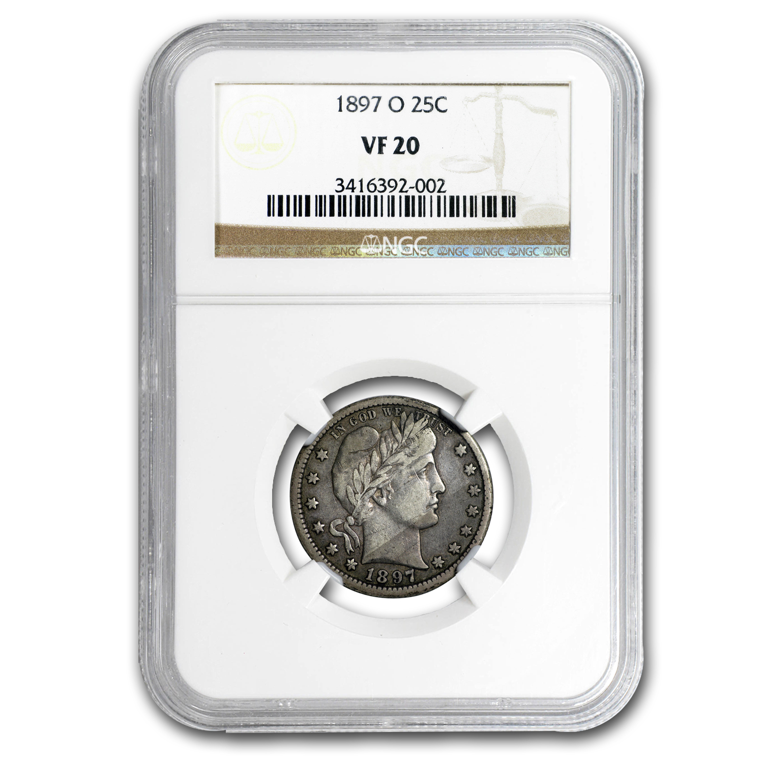 1897-O Barber Quarter VF-20 NGC