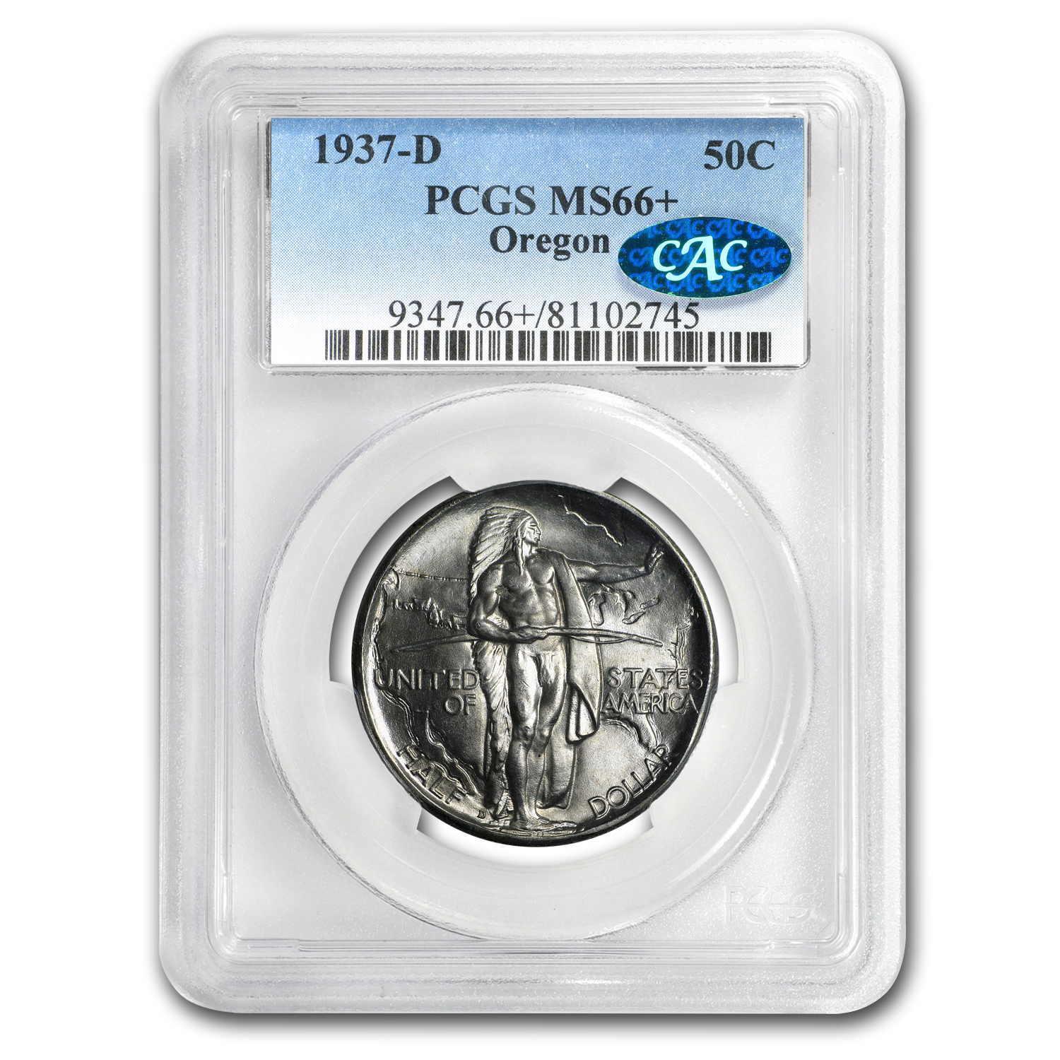 1937-D Oregon Commemorative Half Dollar MS-66+ PCGS CAC