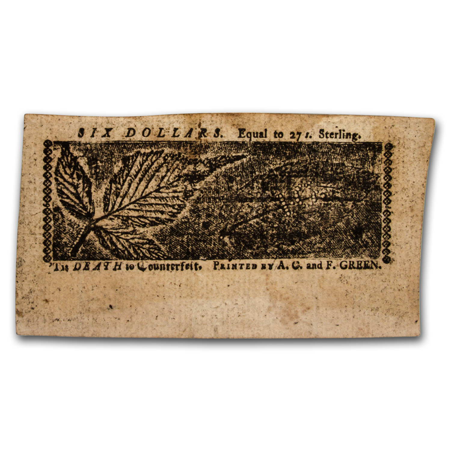 1774 $6 Maryland Currency 4/10/1774 XF-45 PMG