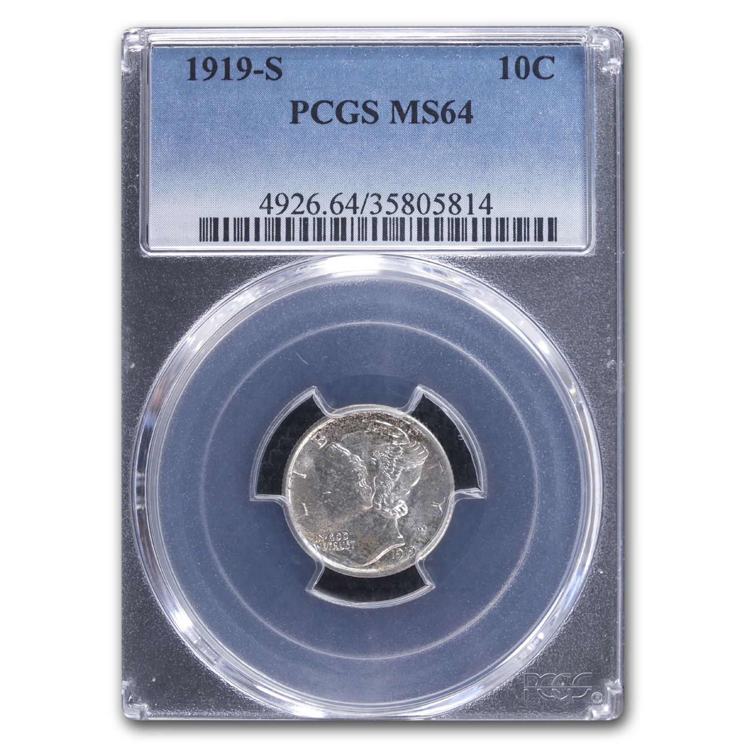 1919-S Mercury Dime MS-64 PCGS