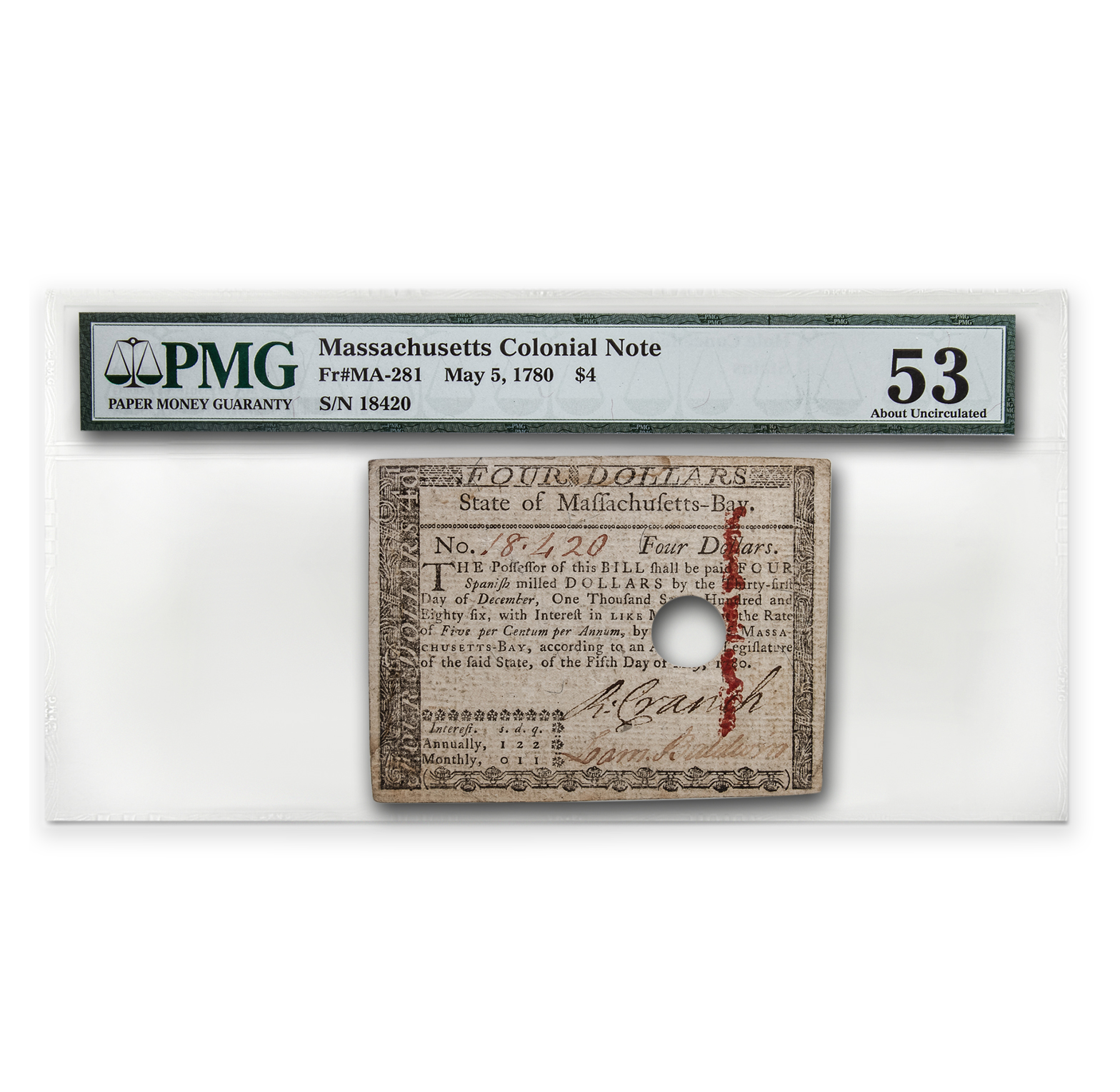 1780 $4 Massachusetts Currency 5/5/1780 AU-53 PMG (Cancelled)