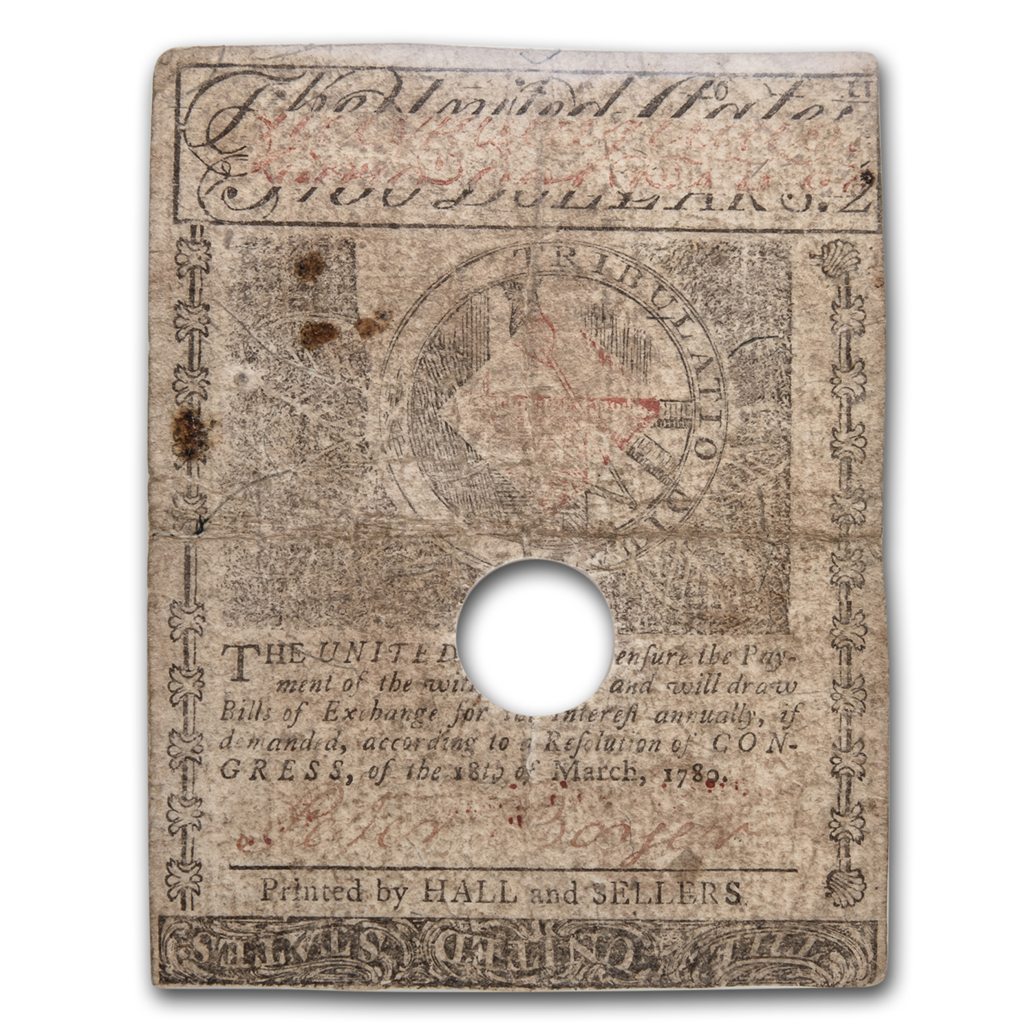 1780 $2 Massachusetts Currency 5/5/1780 VF-30 PMG (Cancelled)